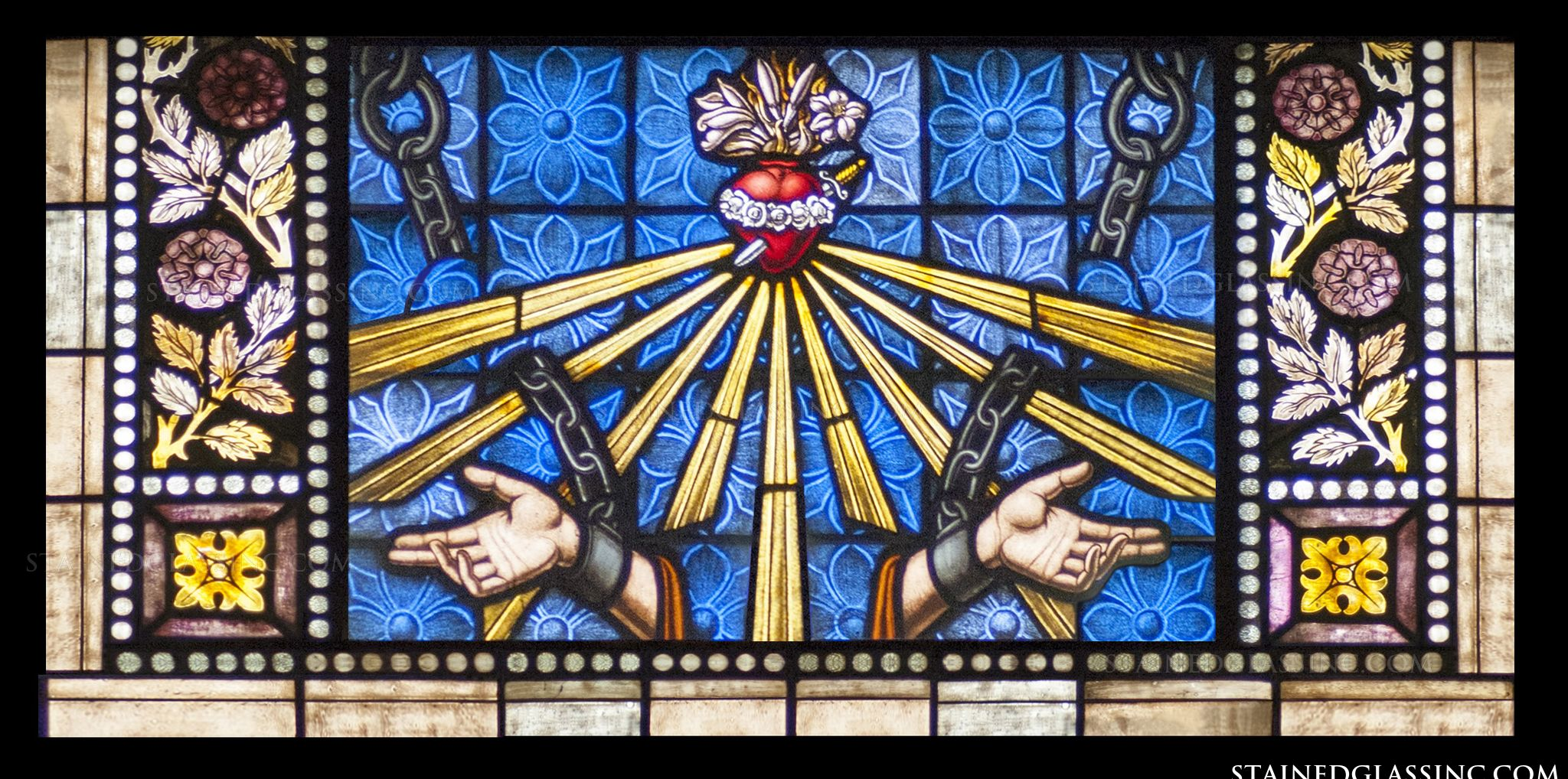 Open hands stained glass window this religious stained glass window insert provides a detailed frame full of color to surround a deeply symbolic image of welcoming hands rays of light biocorpaavc Gallery