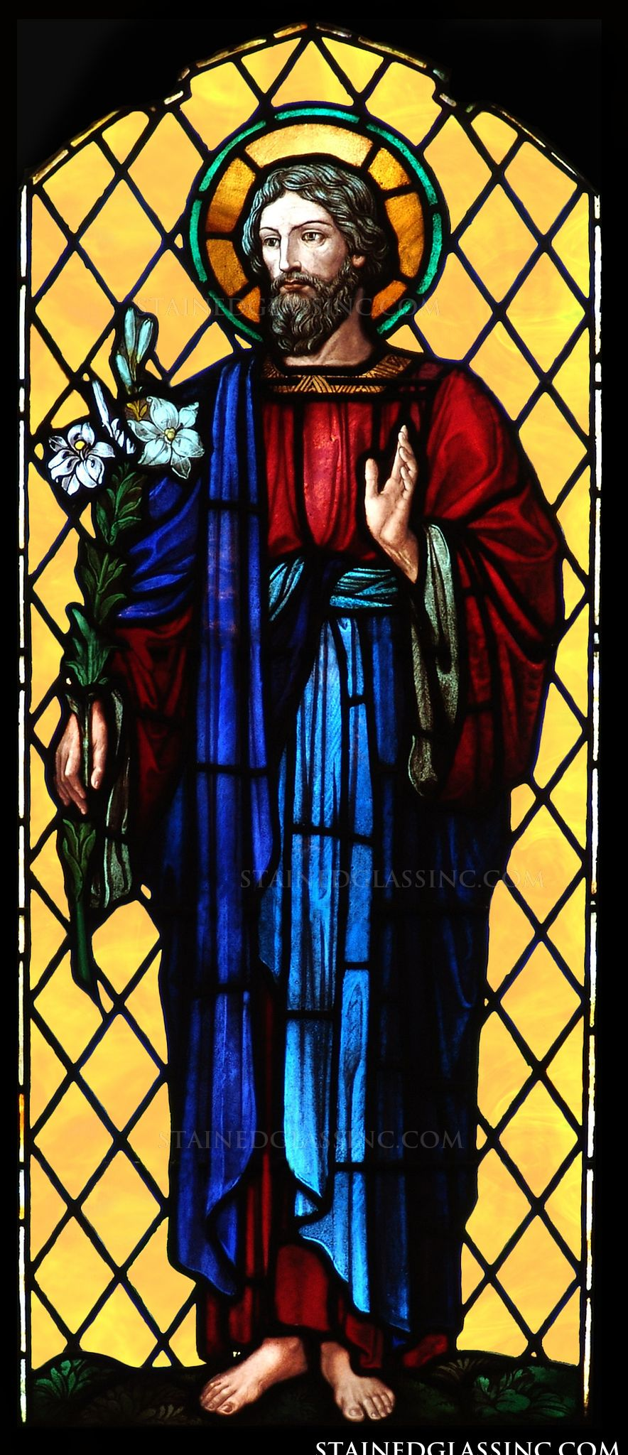 Quot Lilies And Saint Joseph Quot Religious Stained Glass Window