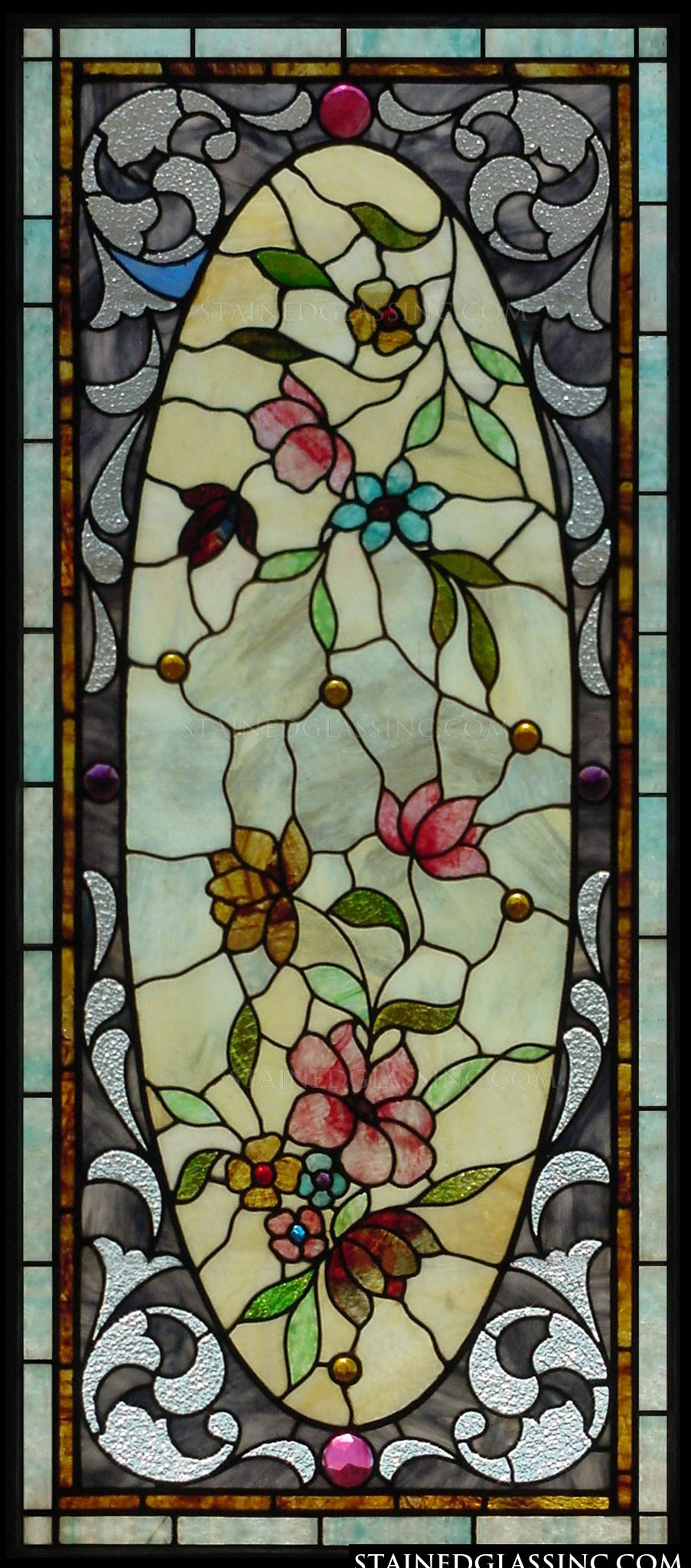 Quot Floral Oval Quot Stained Glass Window