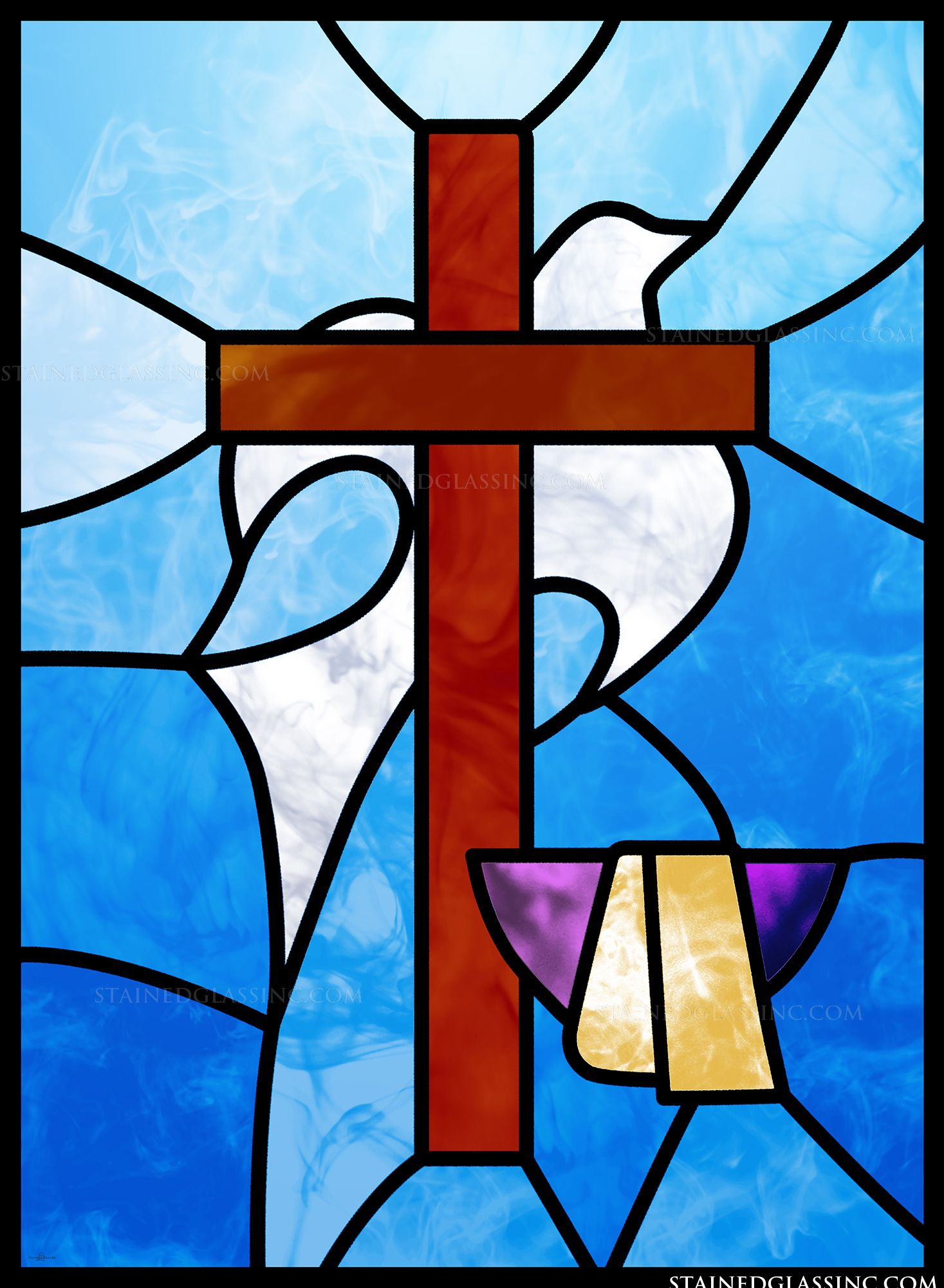 Quot Basin Cross And Dove Quot Stained Glass Window