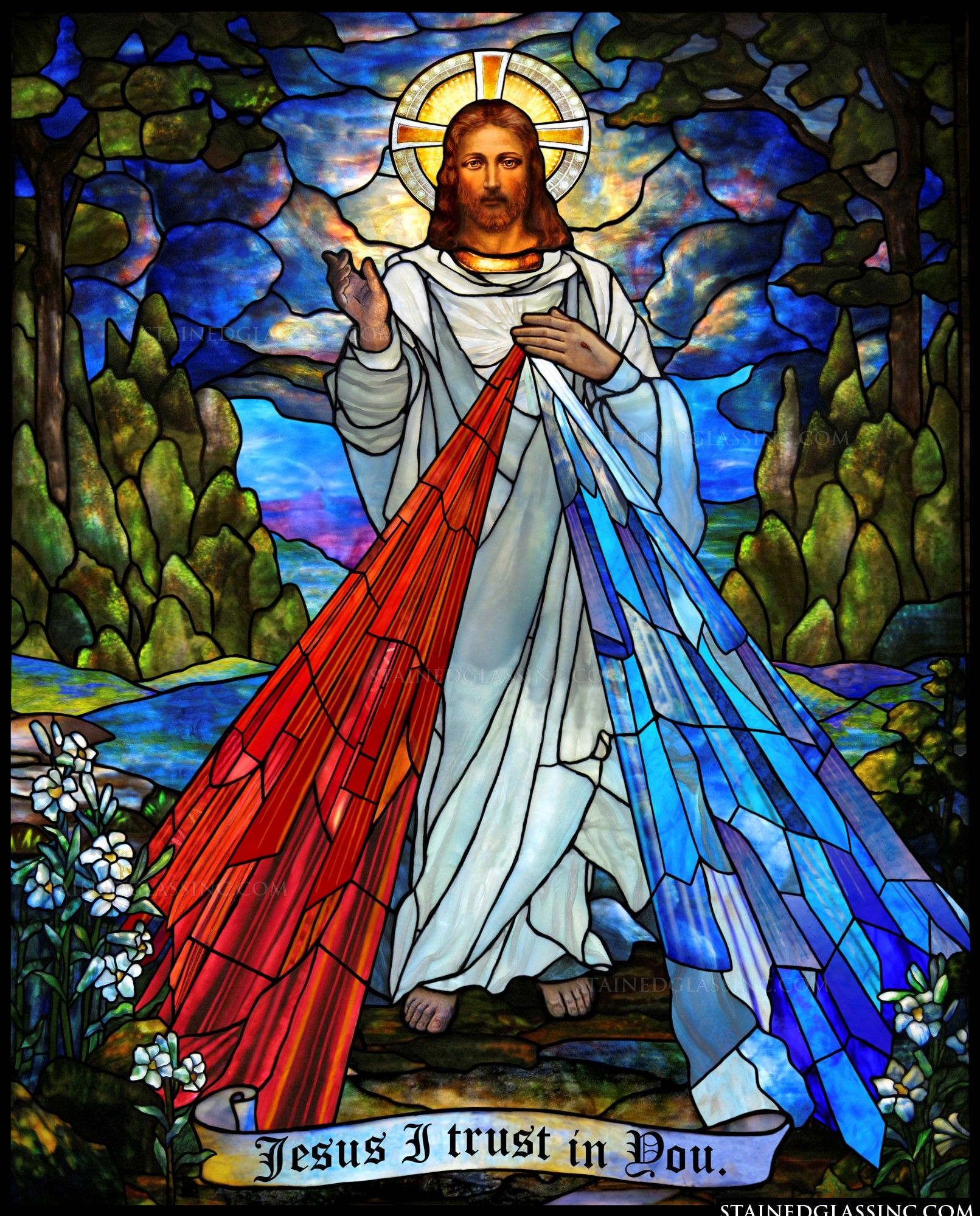 in christ and divine mercy religious stained glass window