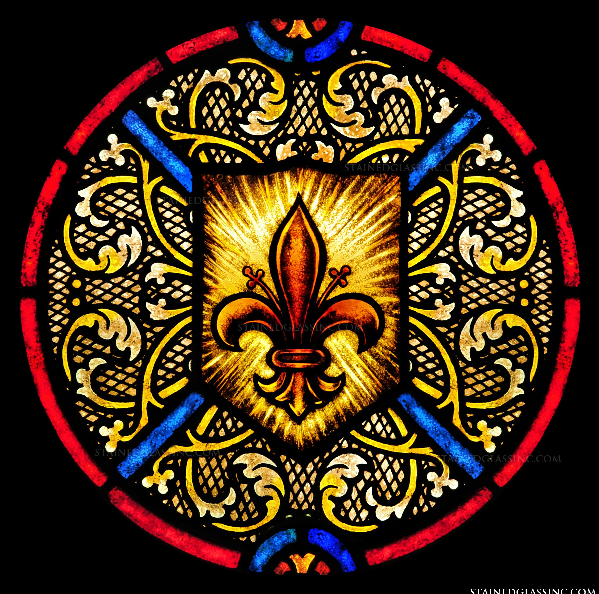 """Round Fleur de Lis"" Religious Stained Glass Window"