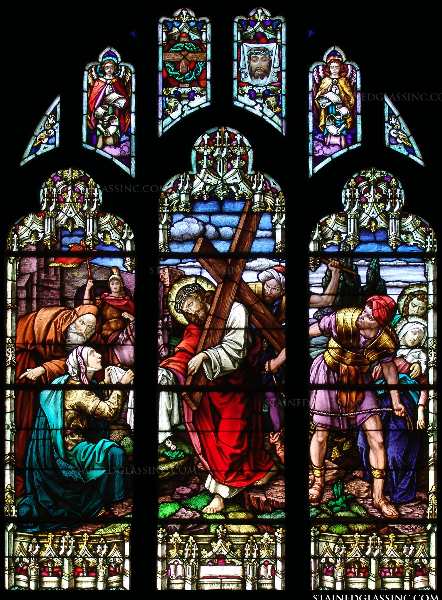 Bear Your Cross Religious Stained Glass Window