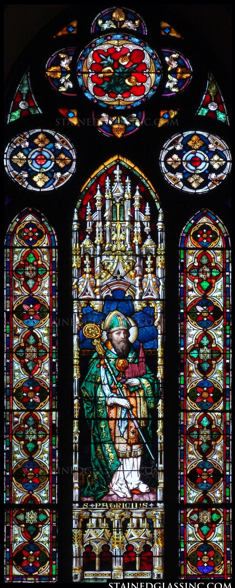 Quot Gothic Saint Patrick Quot Religious Stained Glass Window