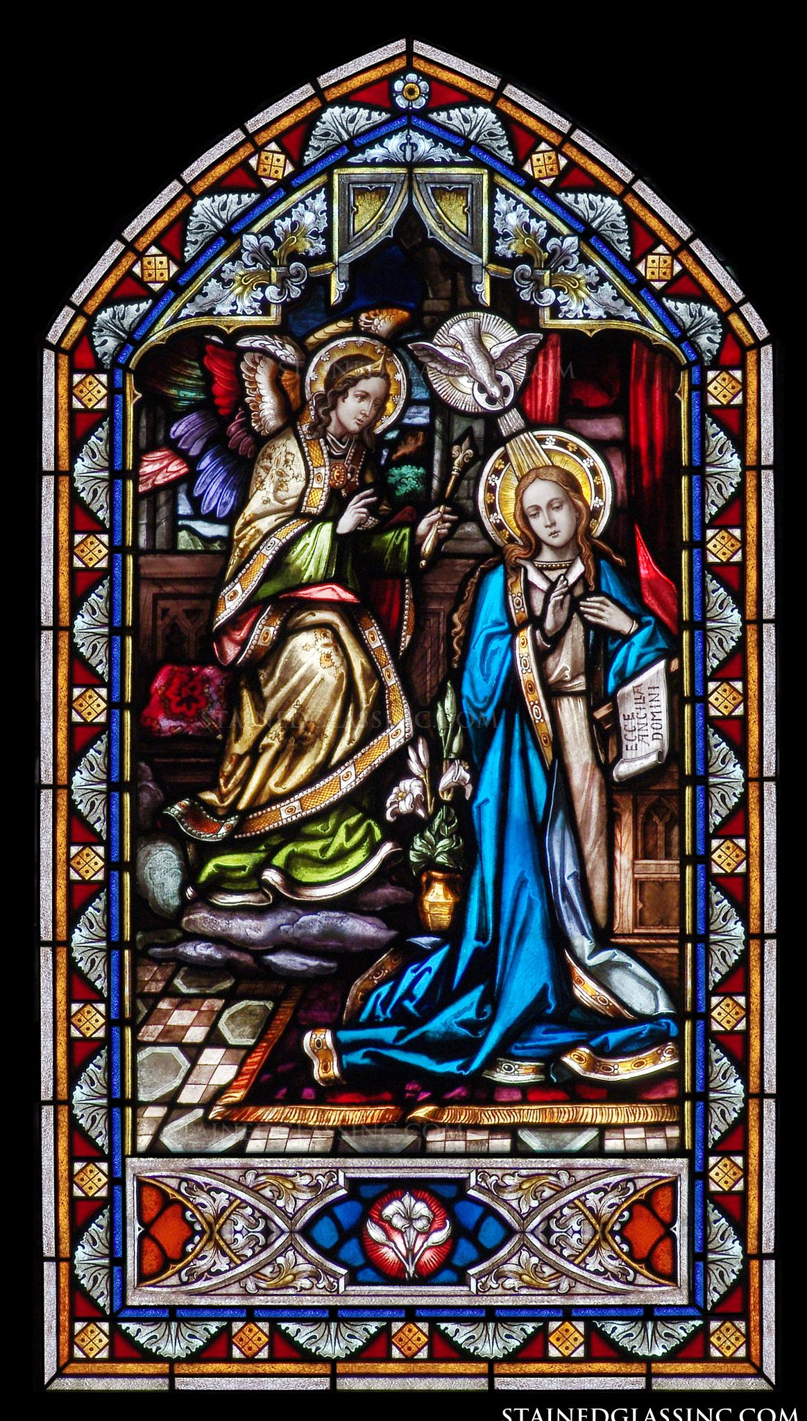 quotheavenly annunciationquot religious stained glass window