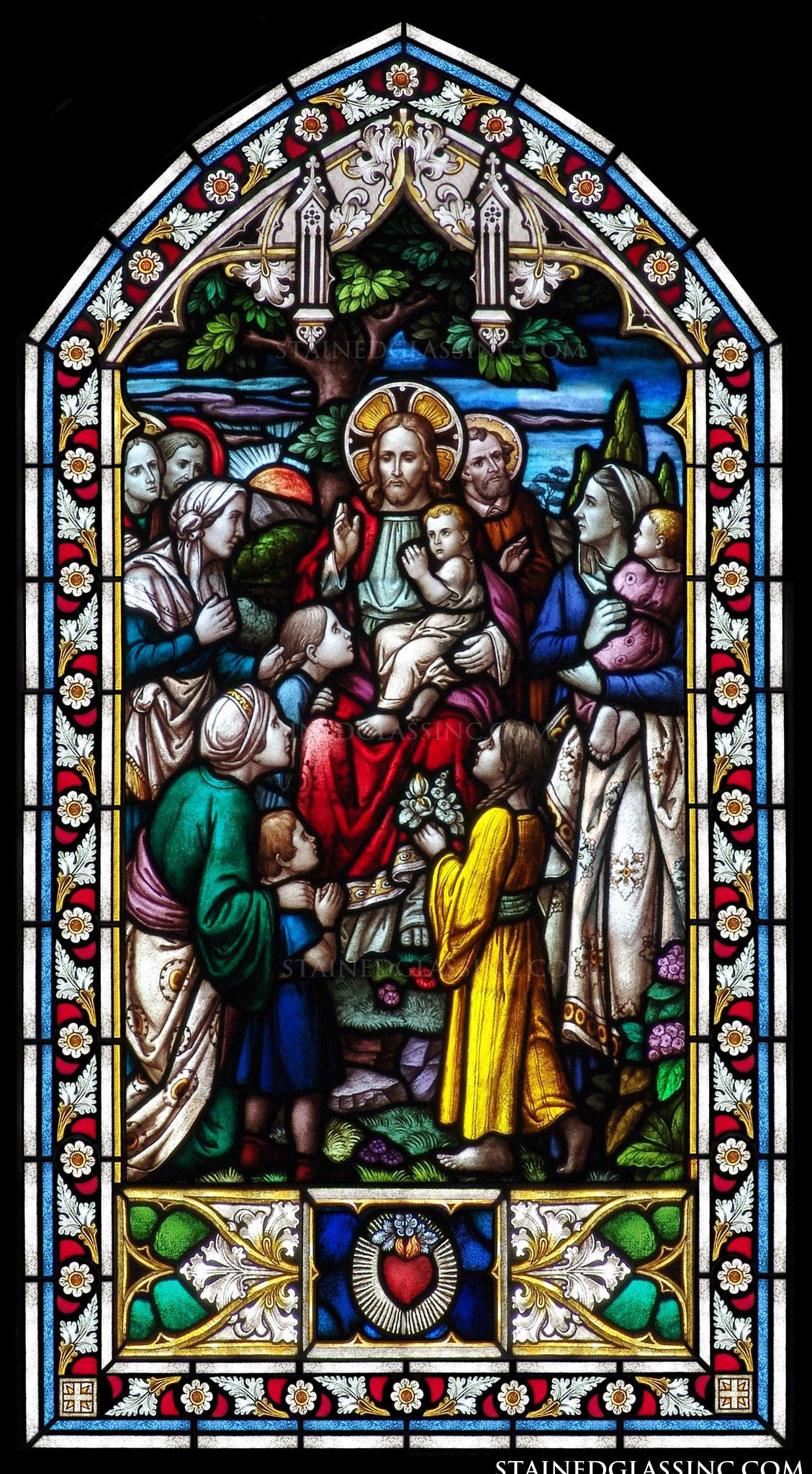 quotjesus with childrenquot religious stained glass window