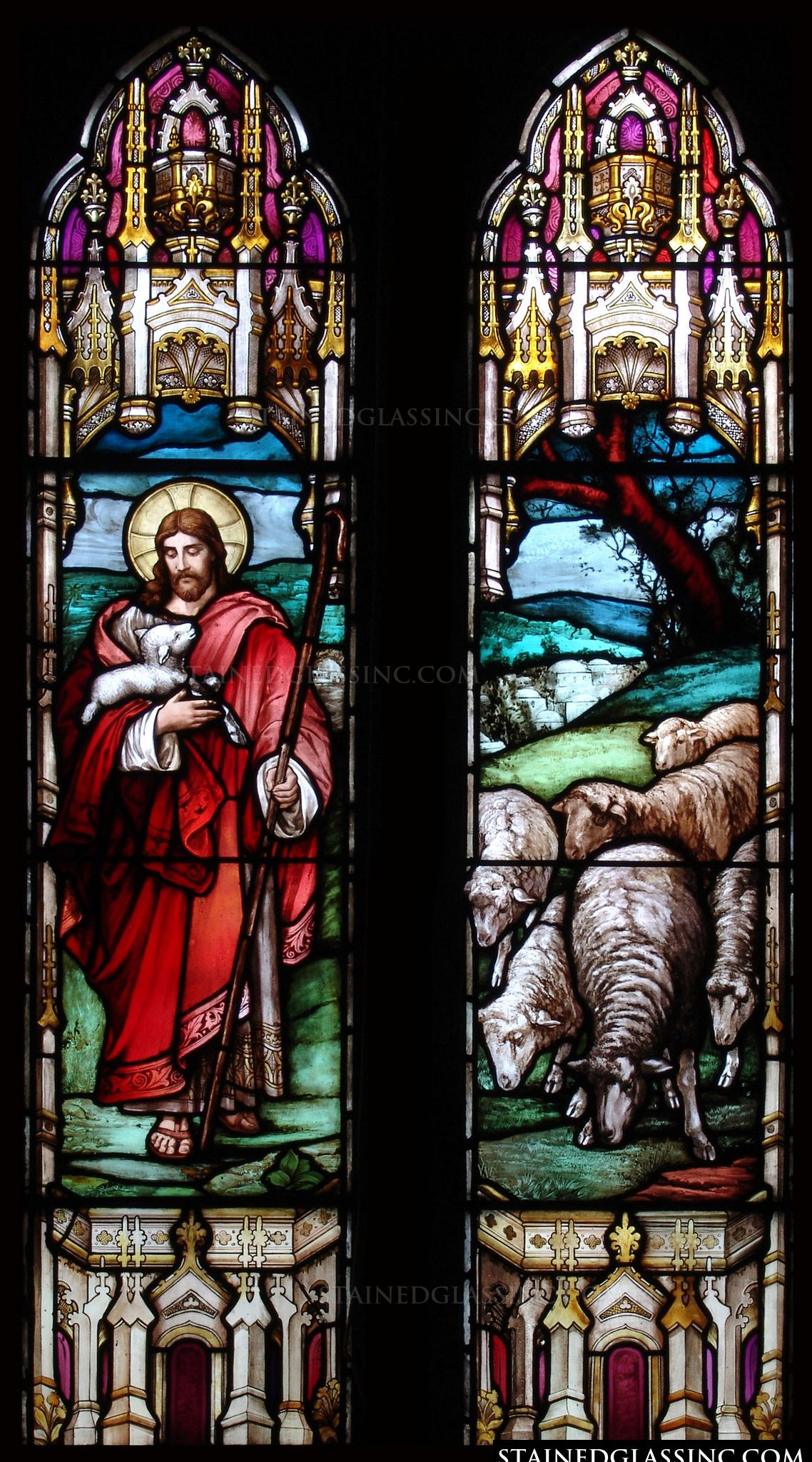 u0026quot christ with sheep u0026quot  religious stained glass window