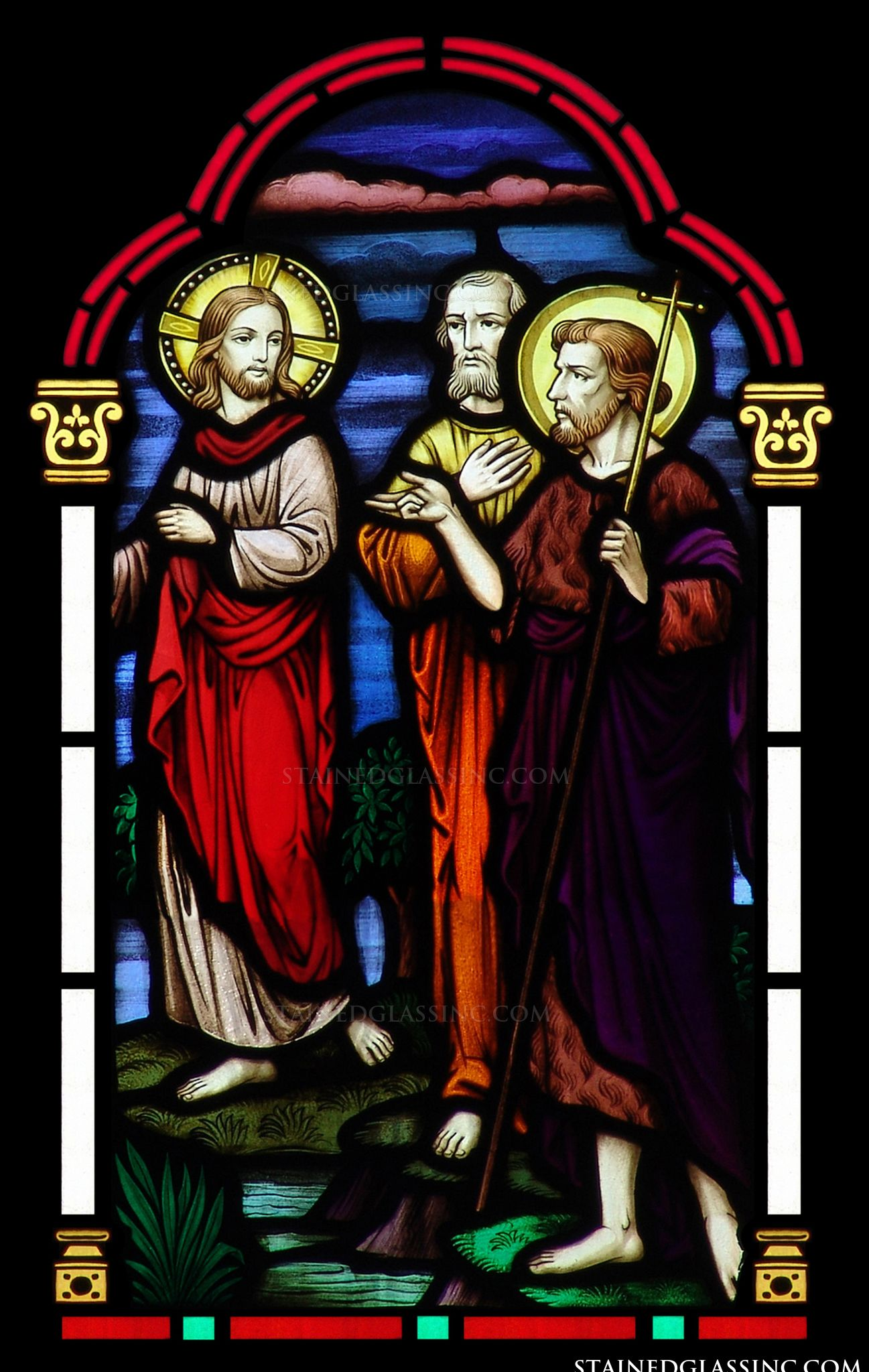 Forerunner Of Jesus Religious Stained Glass Window