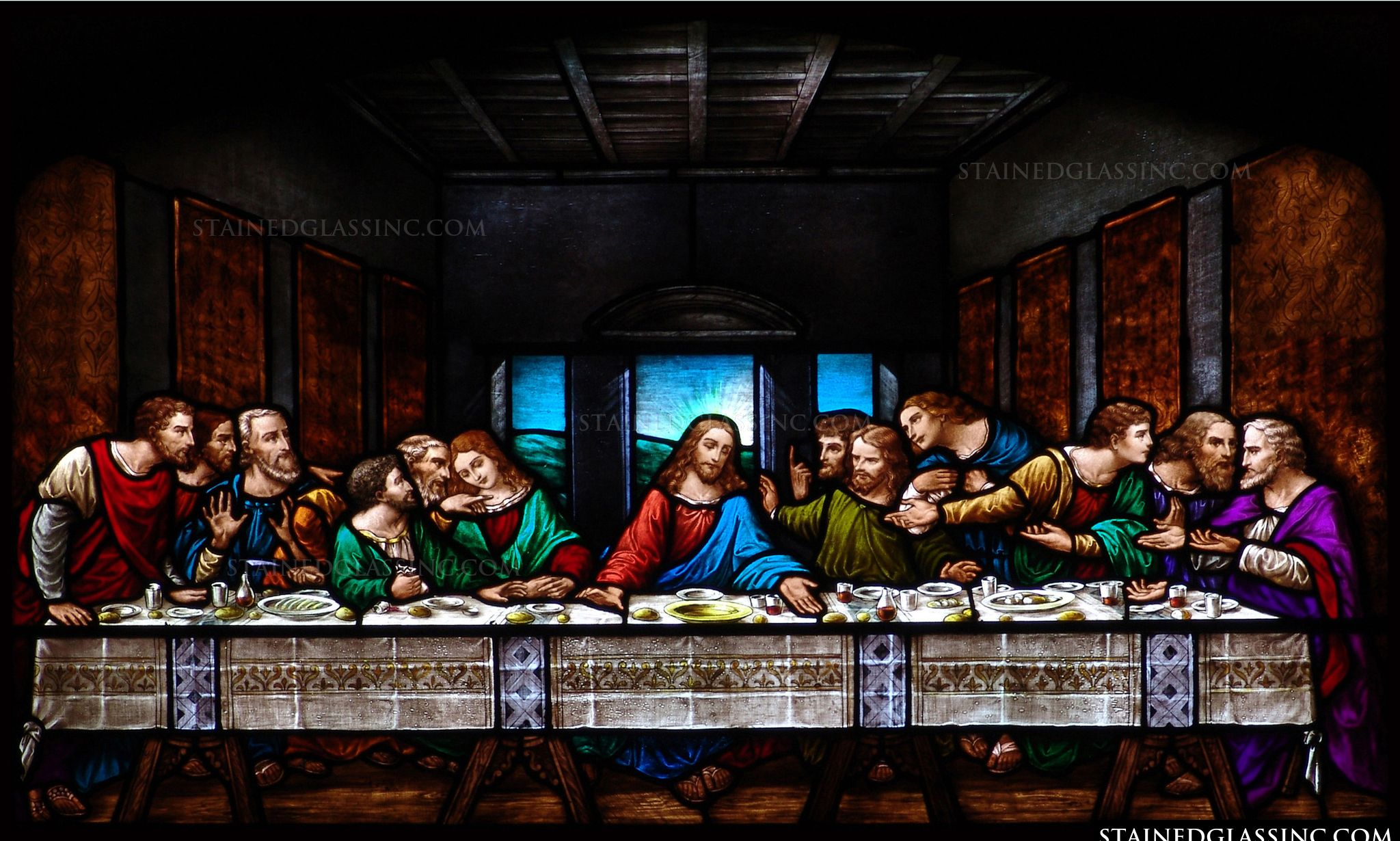 quotthe last supperquot religious stained glass window