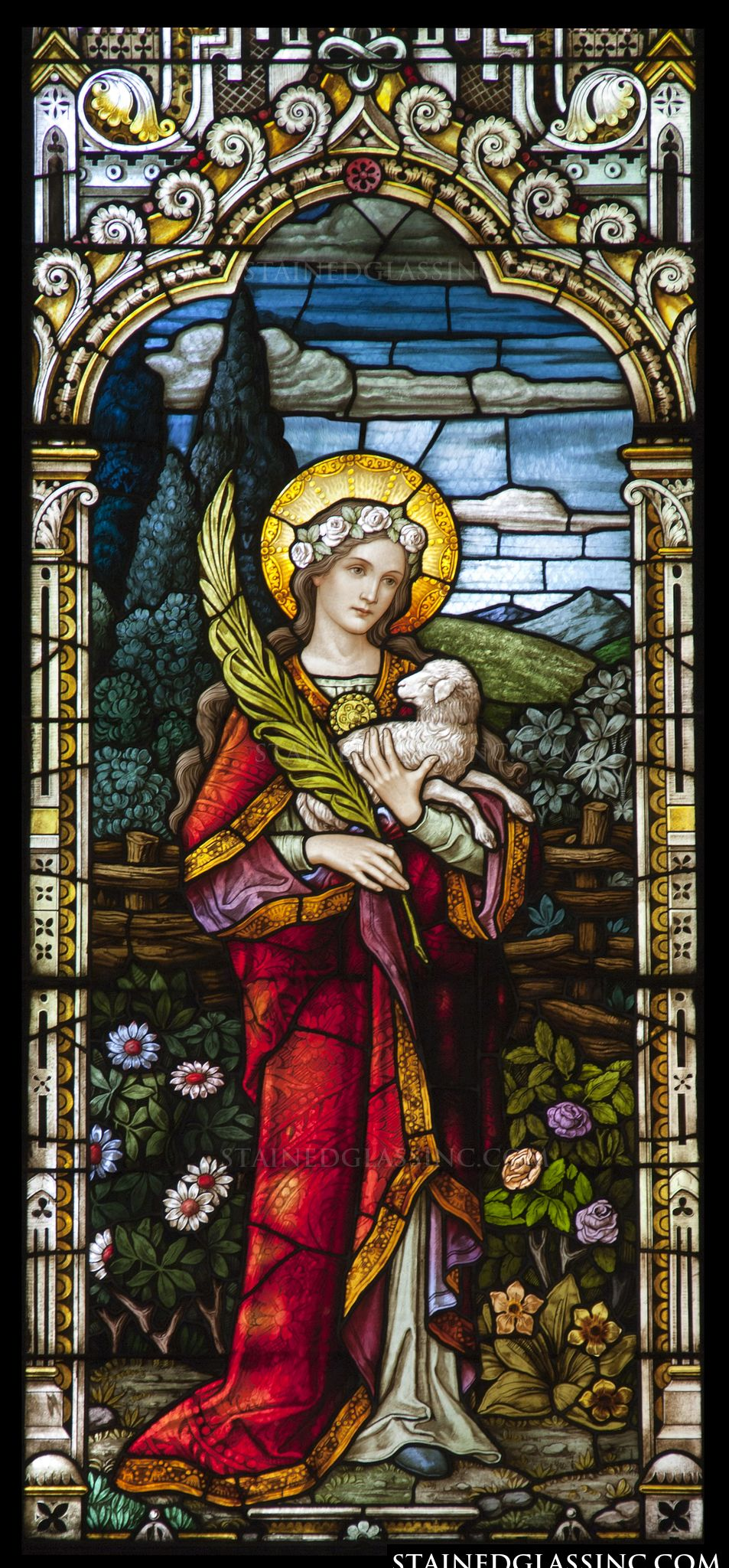 """""""Saint Agnes"""" Religious Stained Glass Window"""