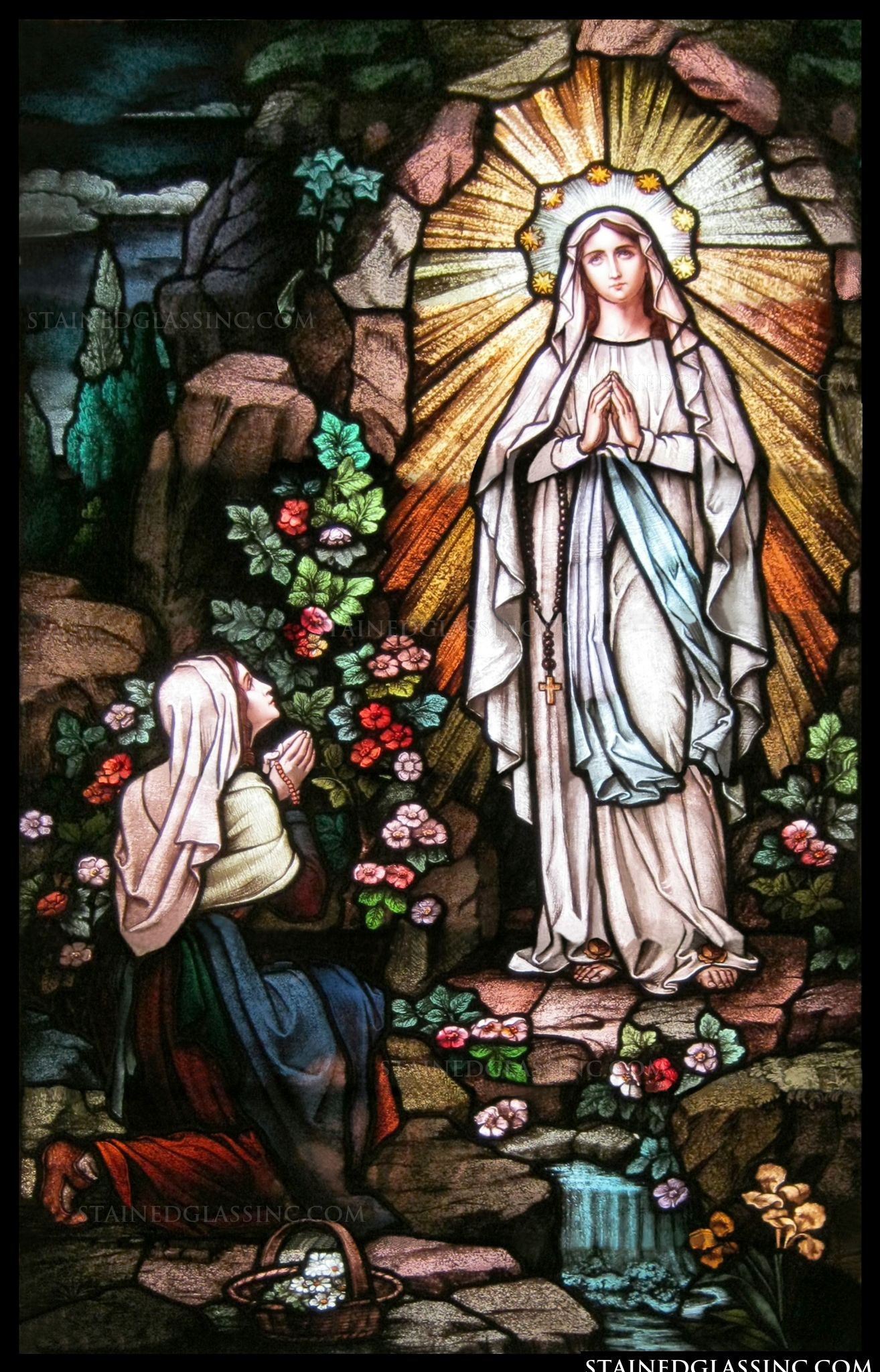 "Our Lady of Lourdes"" Religious Stained Glass Window"