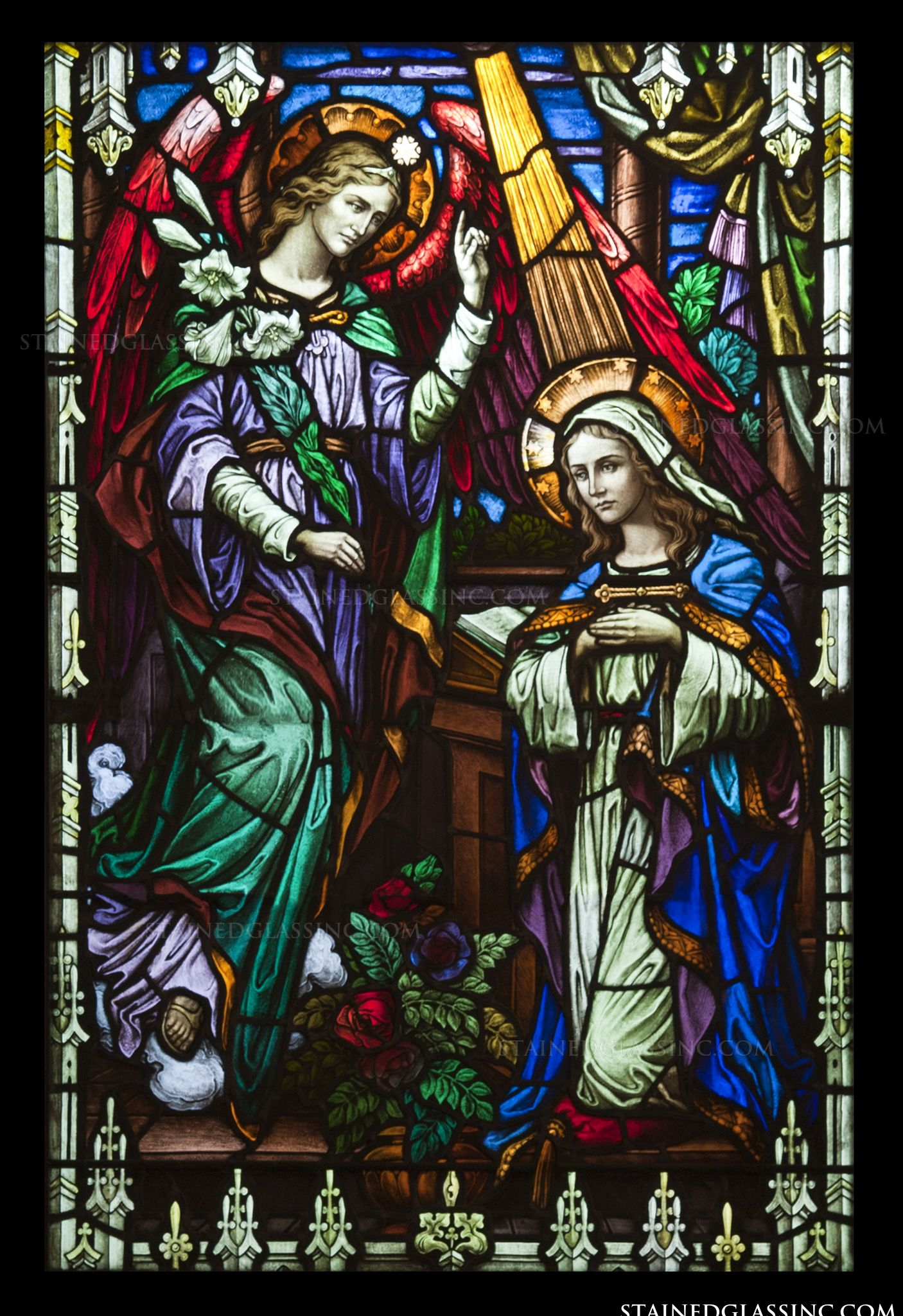 quotthe representation of mary and gabrielquot religious stained