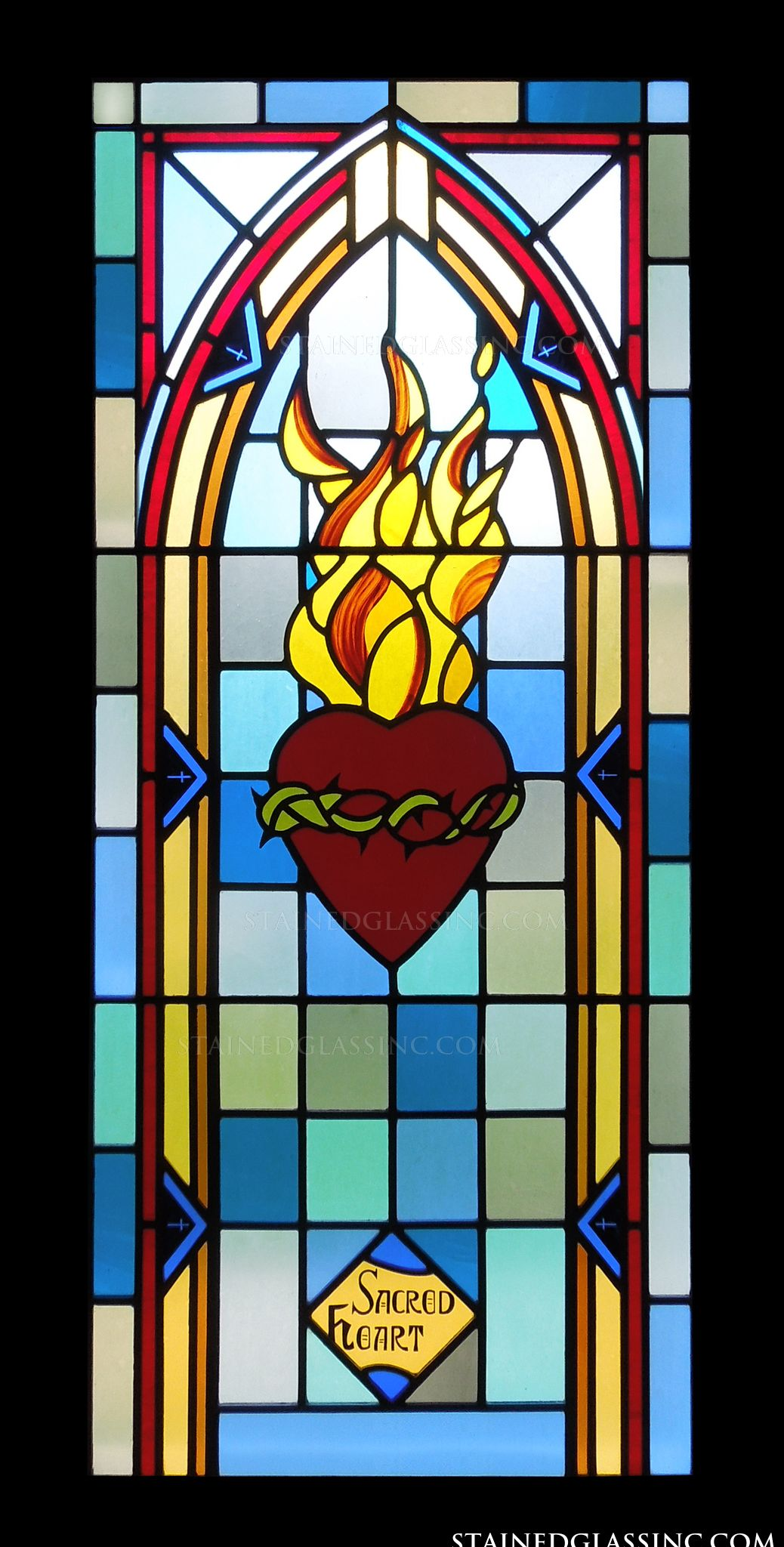 u0026quot the sacred heart symbol u0026quot  religious stained glass window