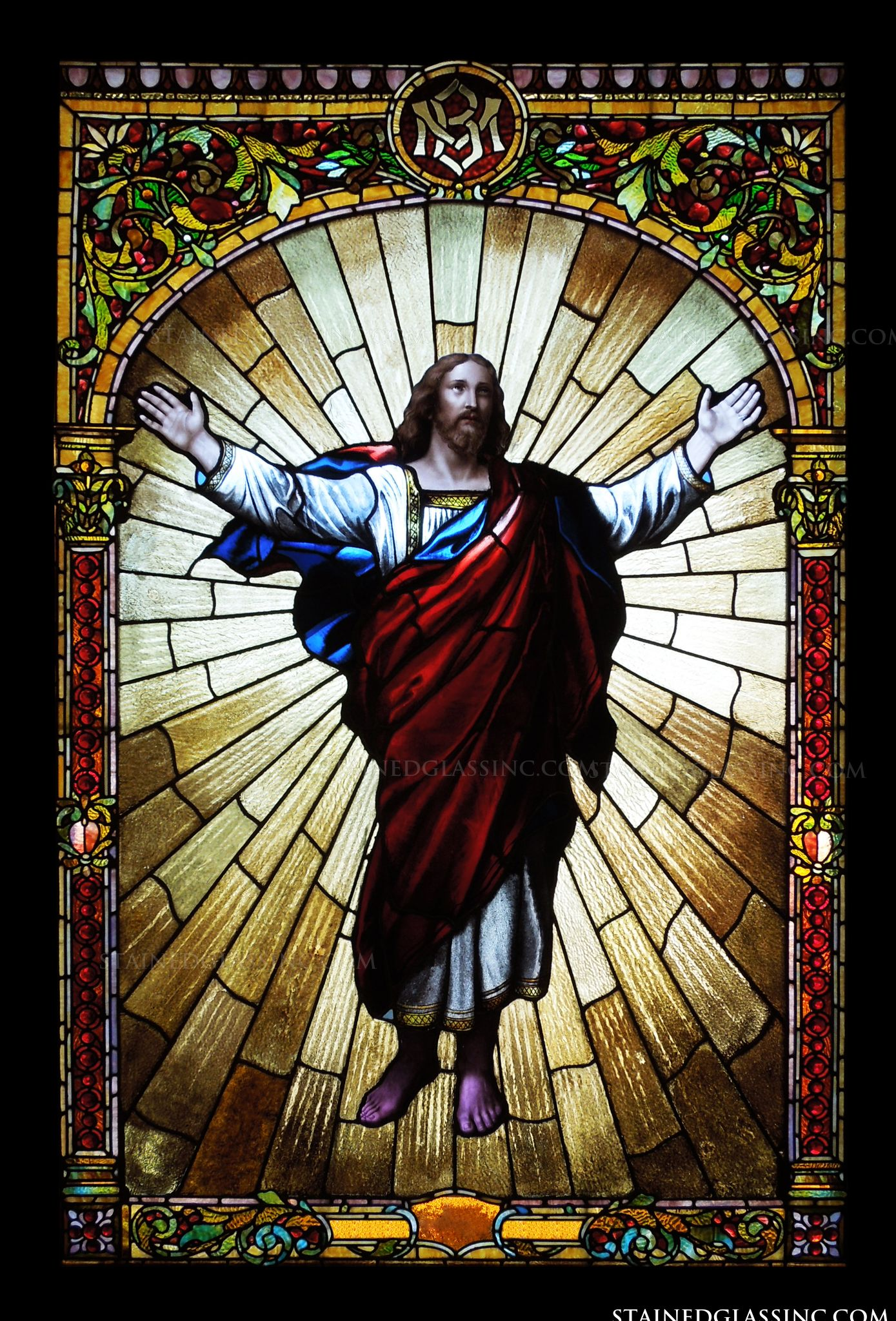 quotchrist exaltedquot religious stained glass window