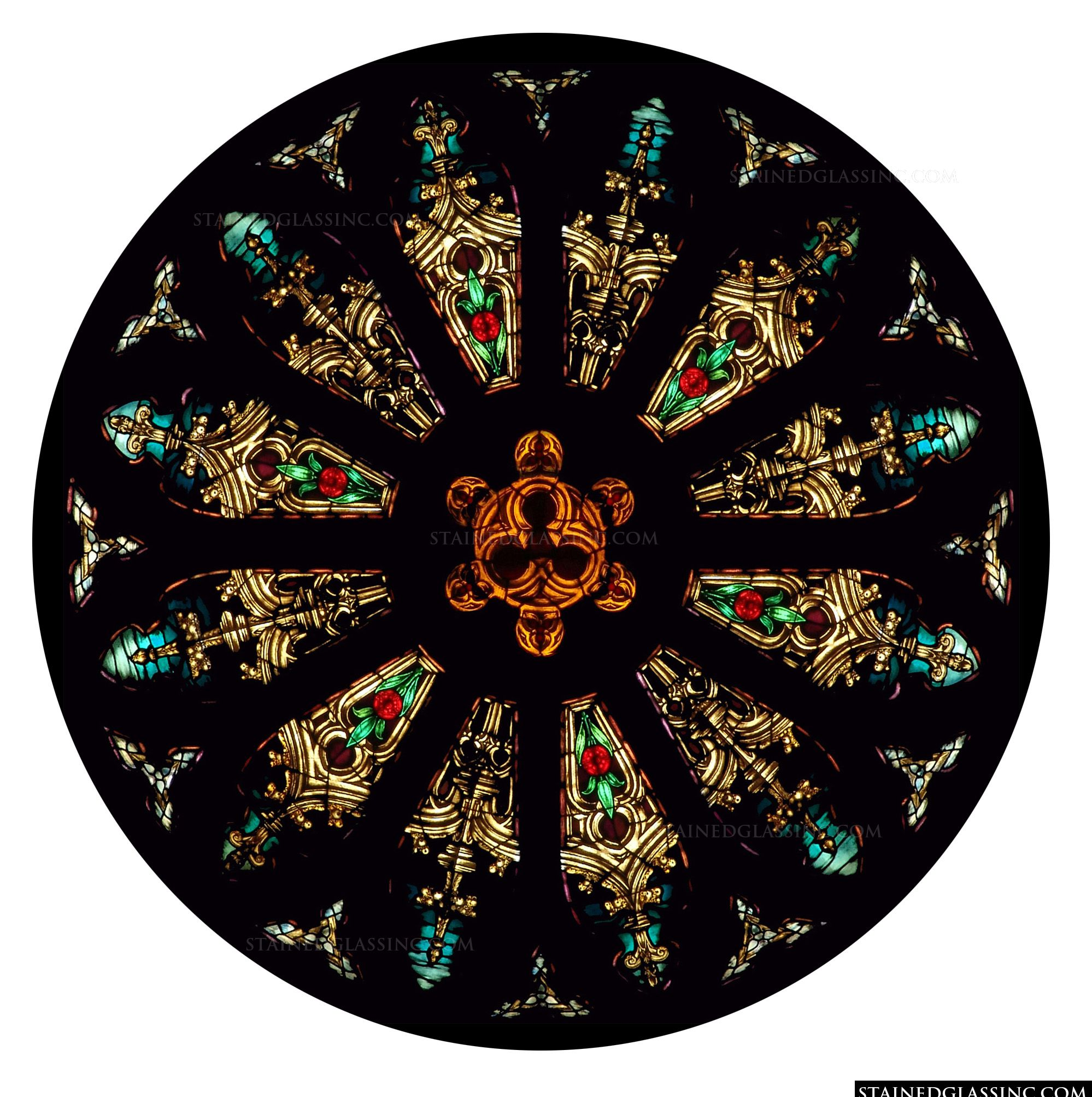 Gothic Rose Window Religious Stained Glass