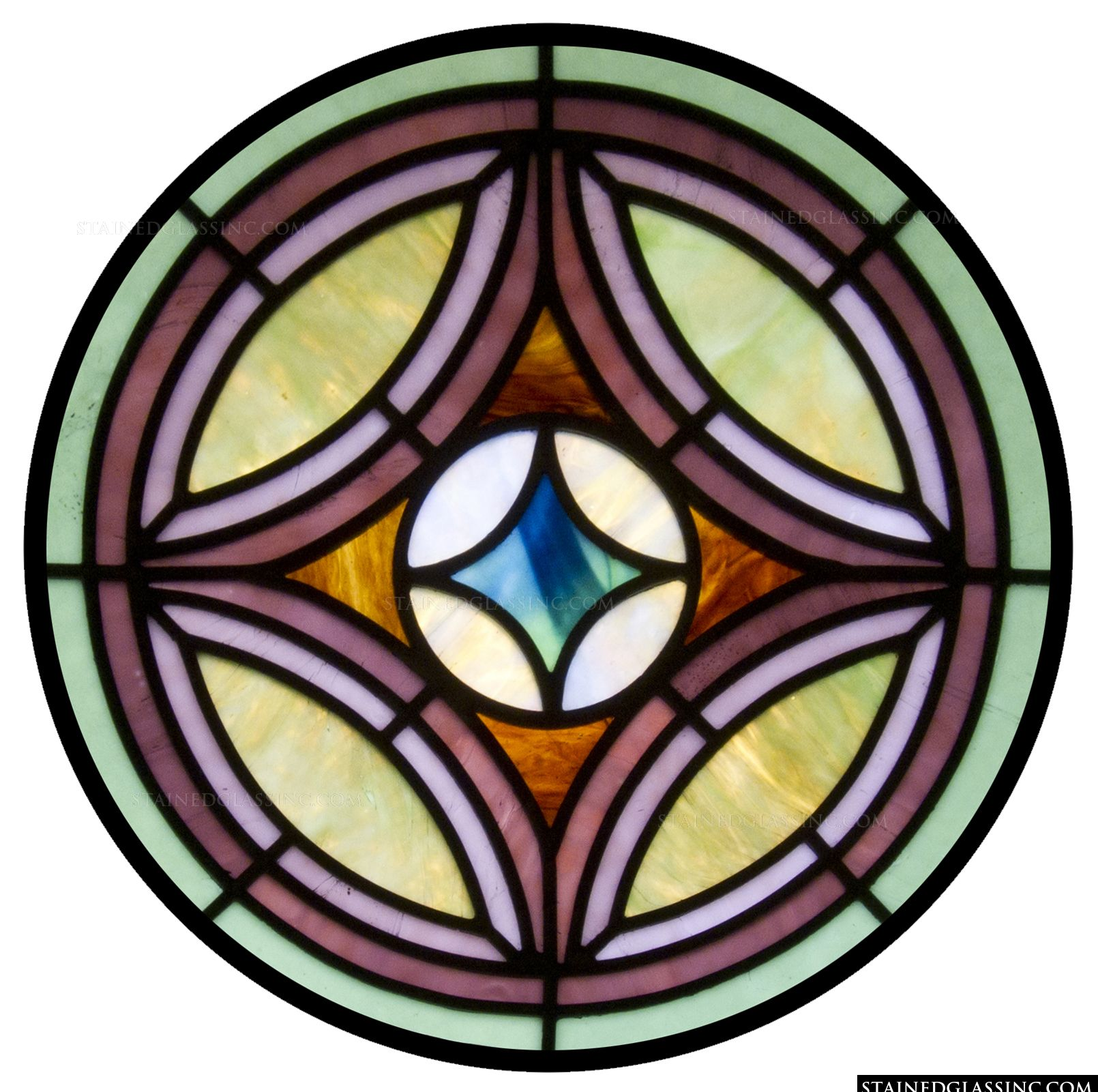 """Simple Rose Window"" Stained Glass Window"