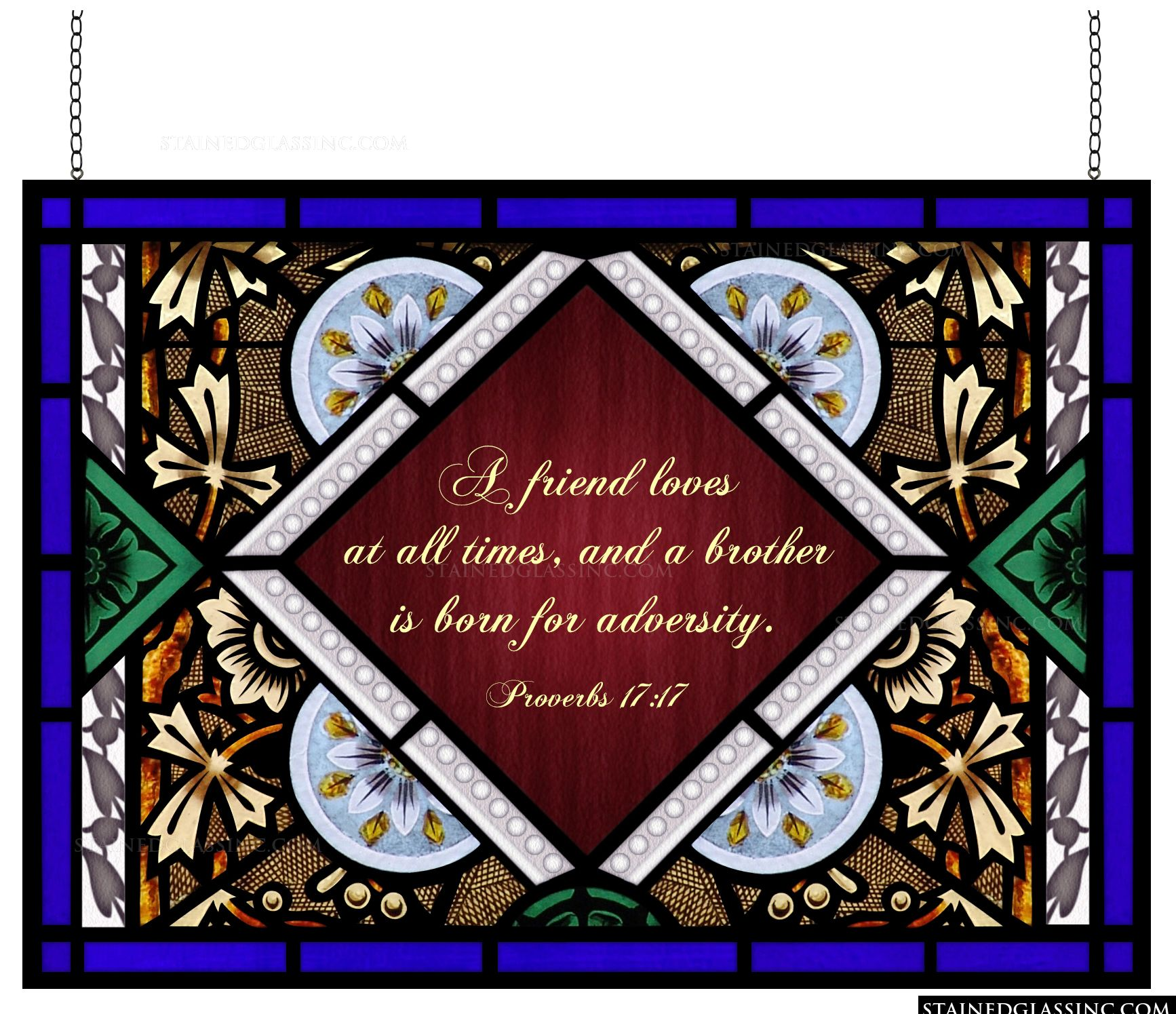 Quot Floral Plaque Quot Stained Glass Window