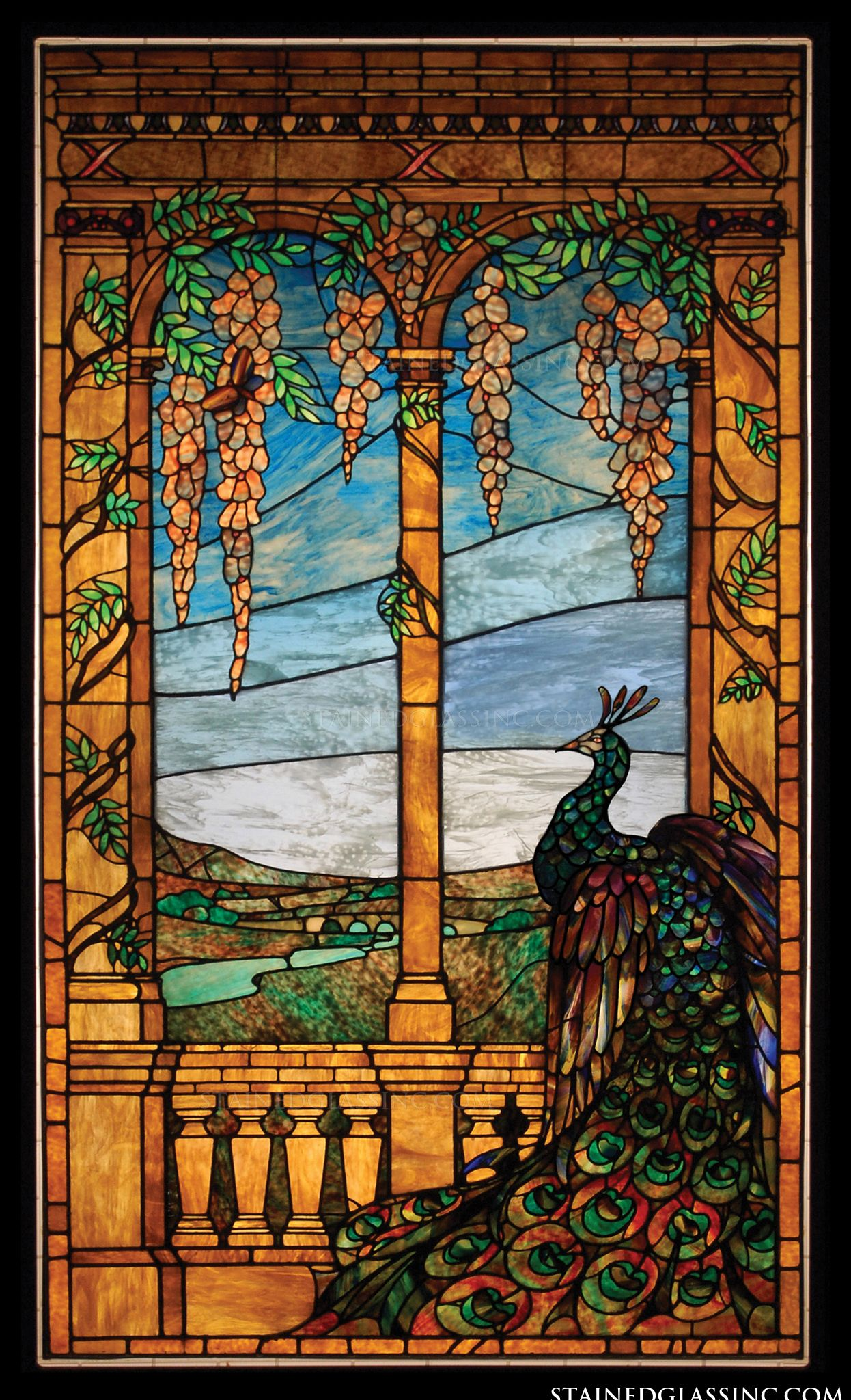 An Arched Stained Glass Window Featuring A Peacock Panel # 2887