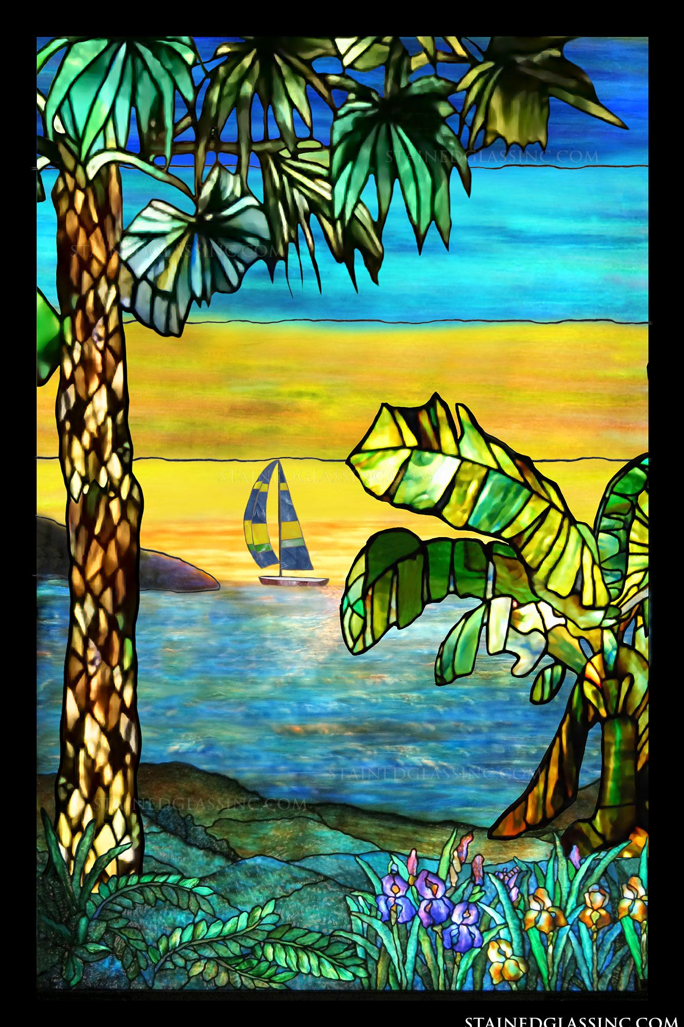 Quot Tiffany Sailing Ship Quot Stained Glass Window