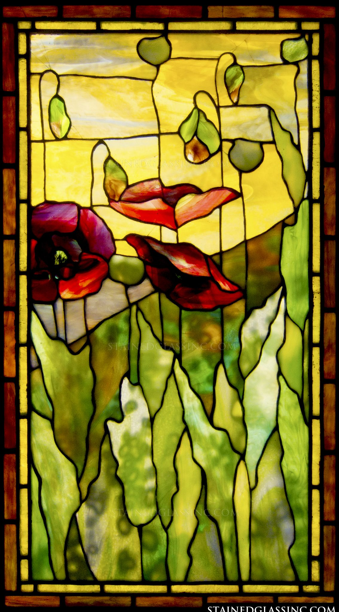 Tiffany Stained Glass : Quot poppies tiffany stained glass window