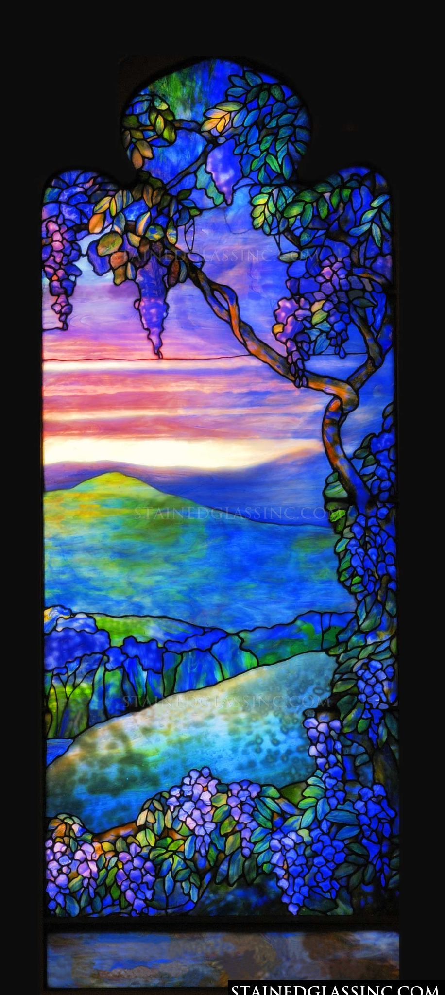 """Tiffany Blue Color Code >> """"Landscape of Sunset Colors"""" Stained Glass Window"""