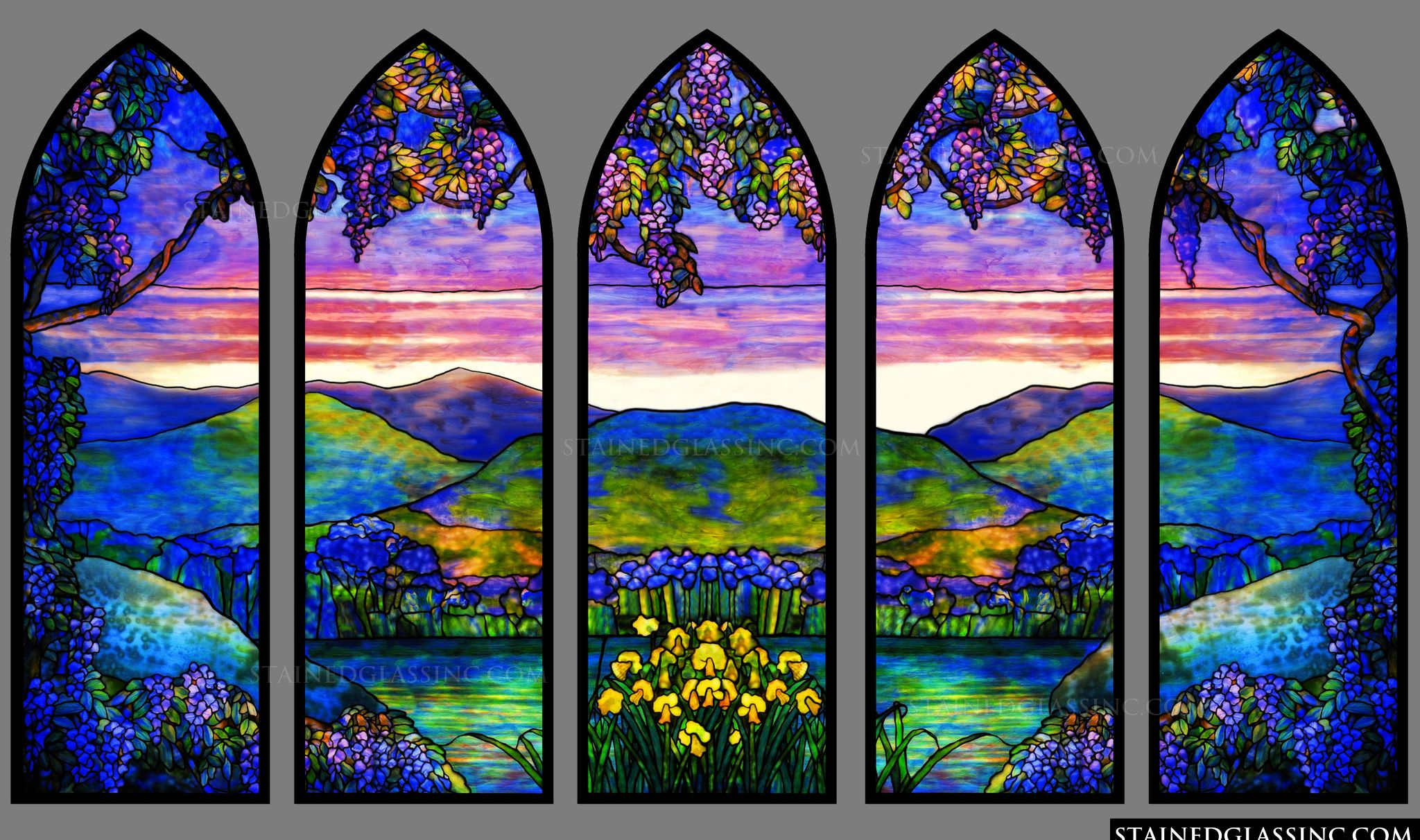 Landscape of sunset colors stained glass window for Glass windows