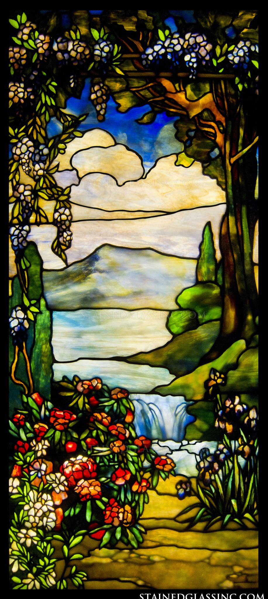 Quot Landscape With Waterfall Quot Stained Glass Window