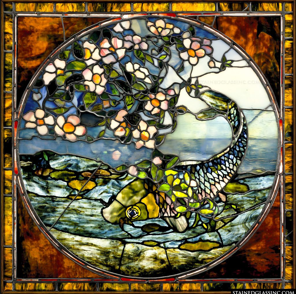 Koi fish stained glass window for Stained glass fish