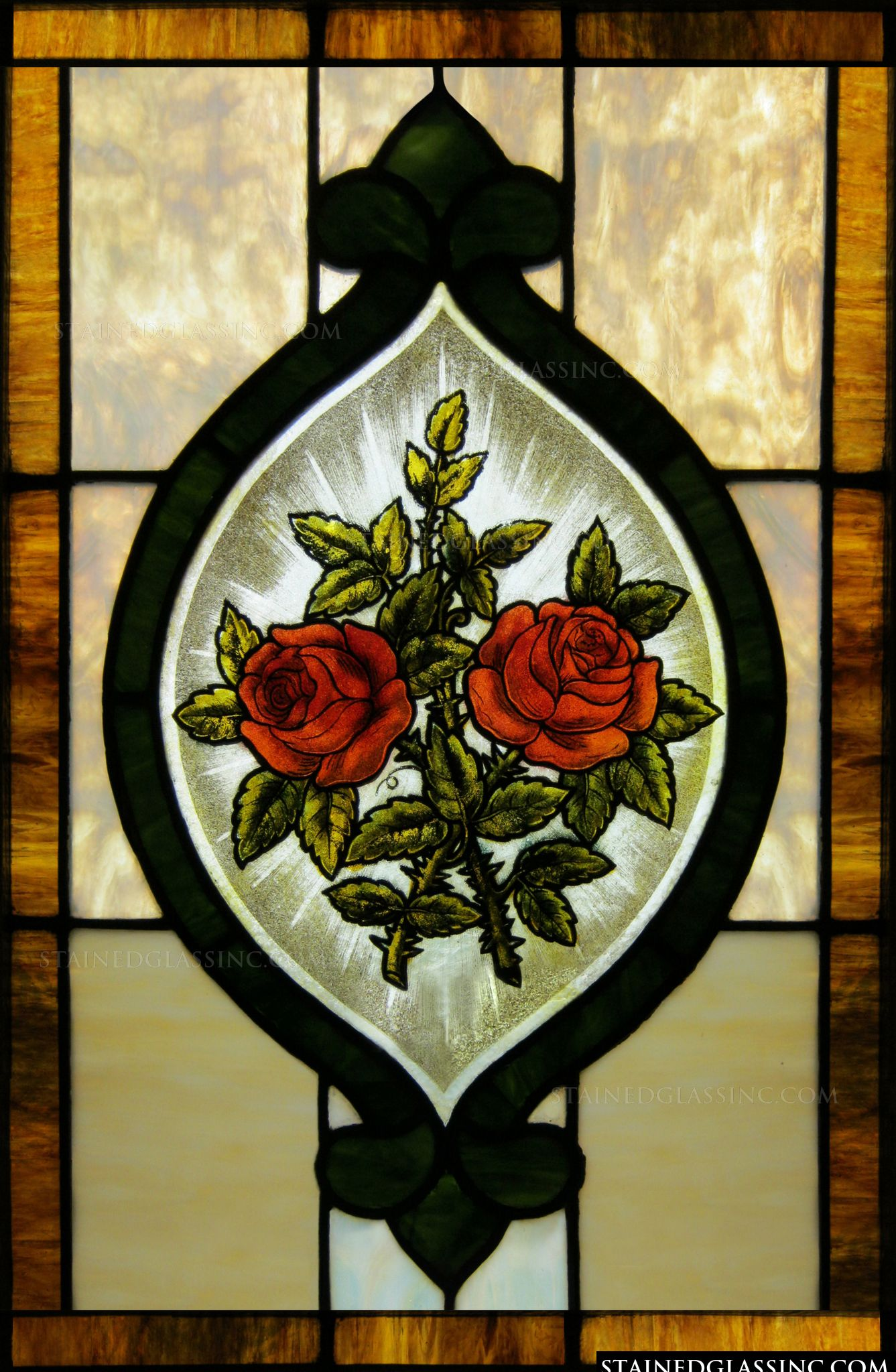 Red Stained Glass : Quot red roses panel stained glass window