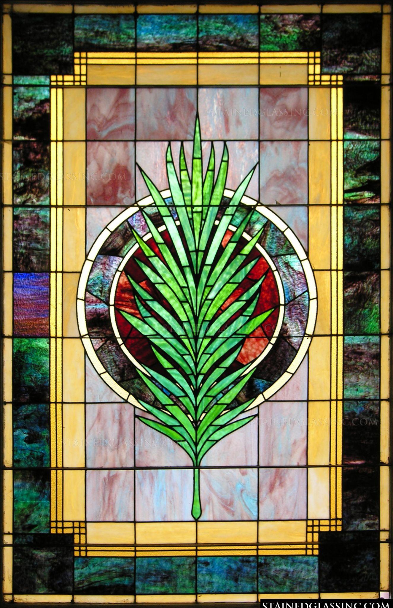 Decorative palm window stained glass window for Decorative stained glass windows
