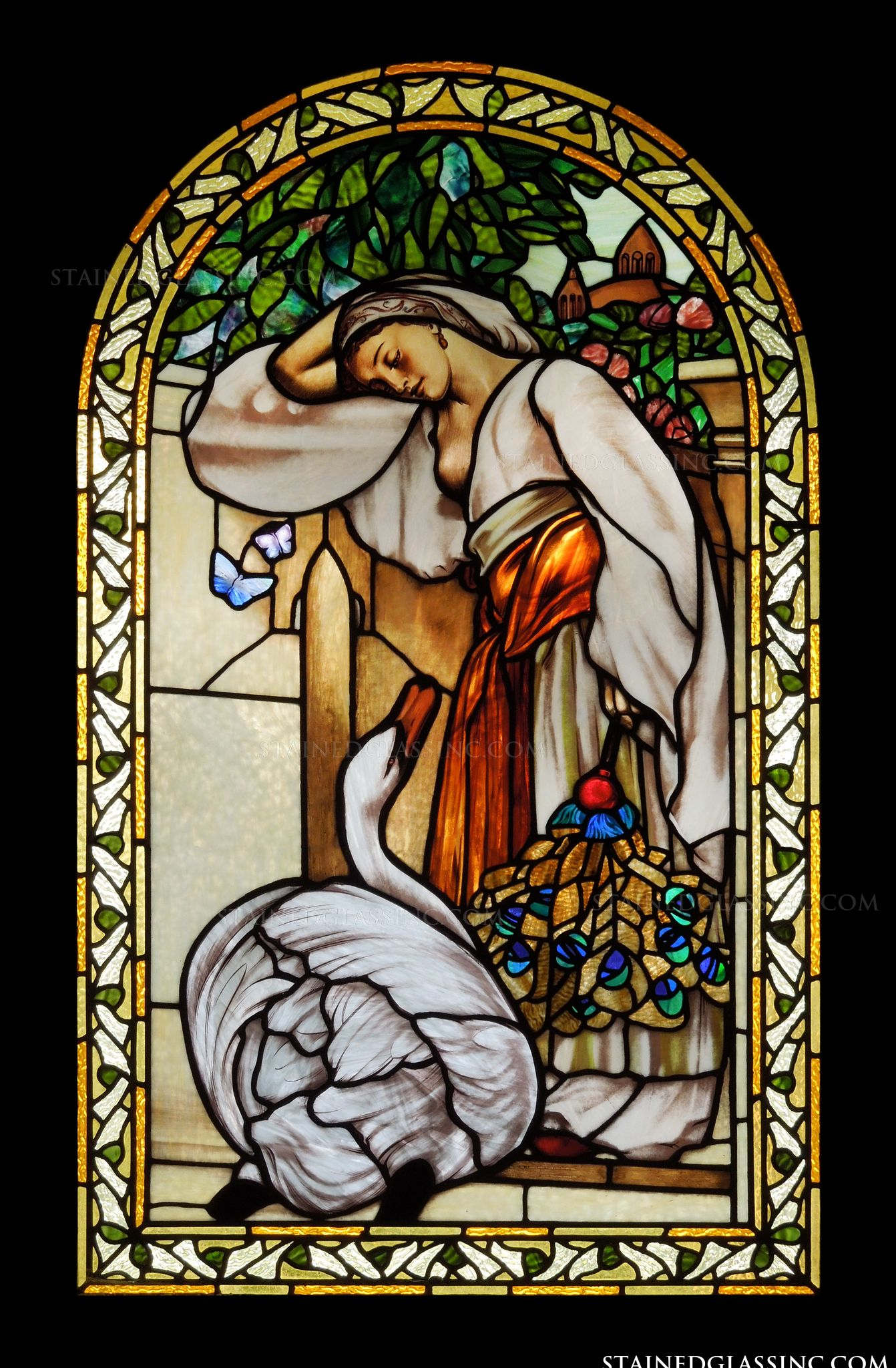 Quot Leda And The Swan Quot Stained Glass Window