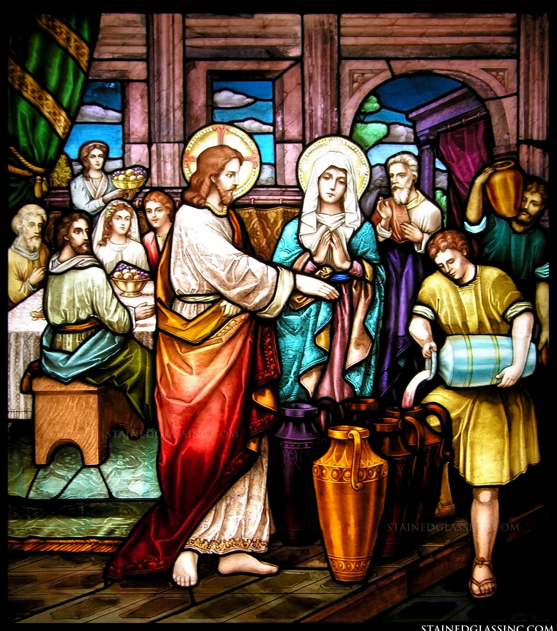 quotthe wine and the weddingquot religious stained glass window