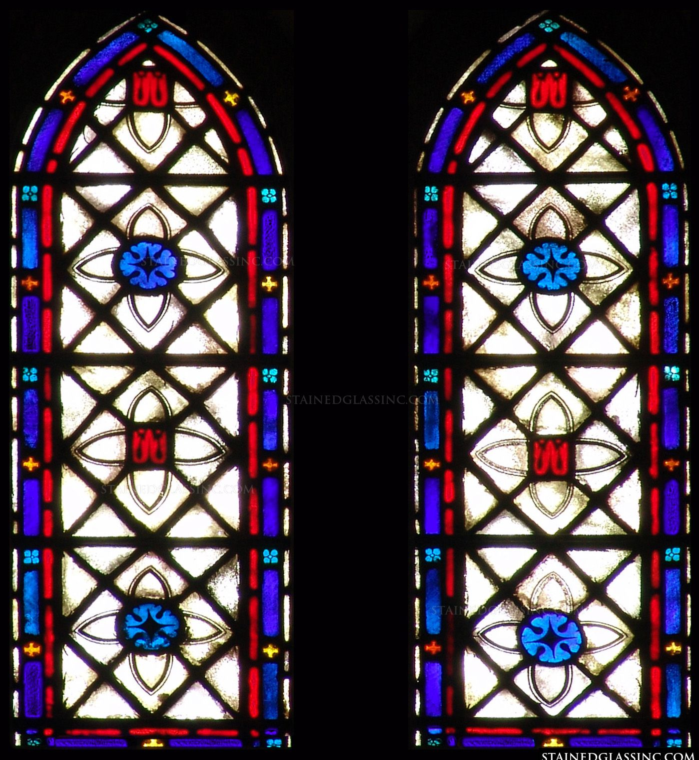 Colorful arched panels stained glass window for Glass windows