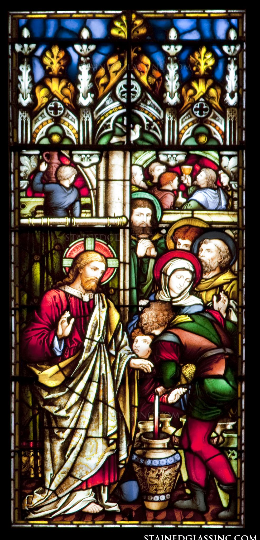 Wedding Feast At Cana.Wedding Feast At Cana Religious Stained Glass Window
