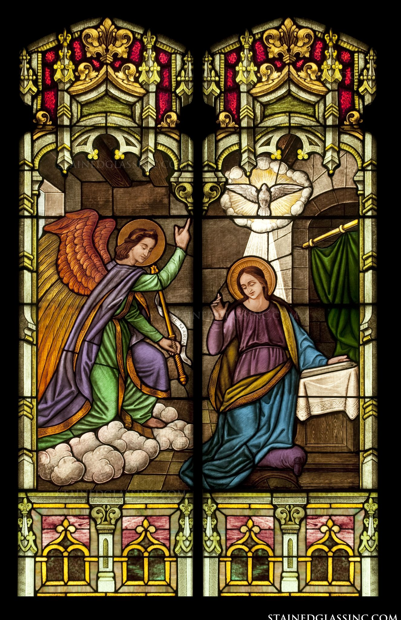 quotannunciation to the queenquot religious stained glass window