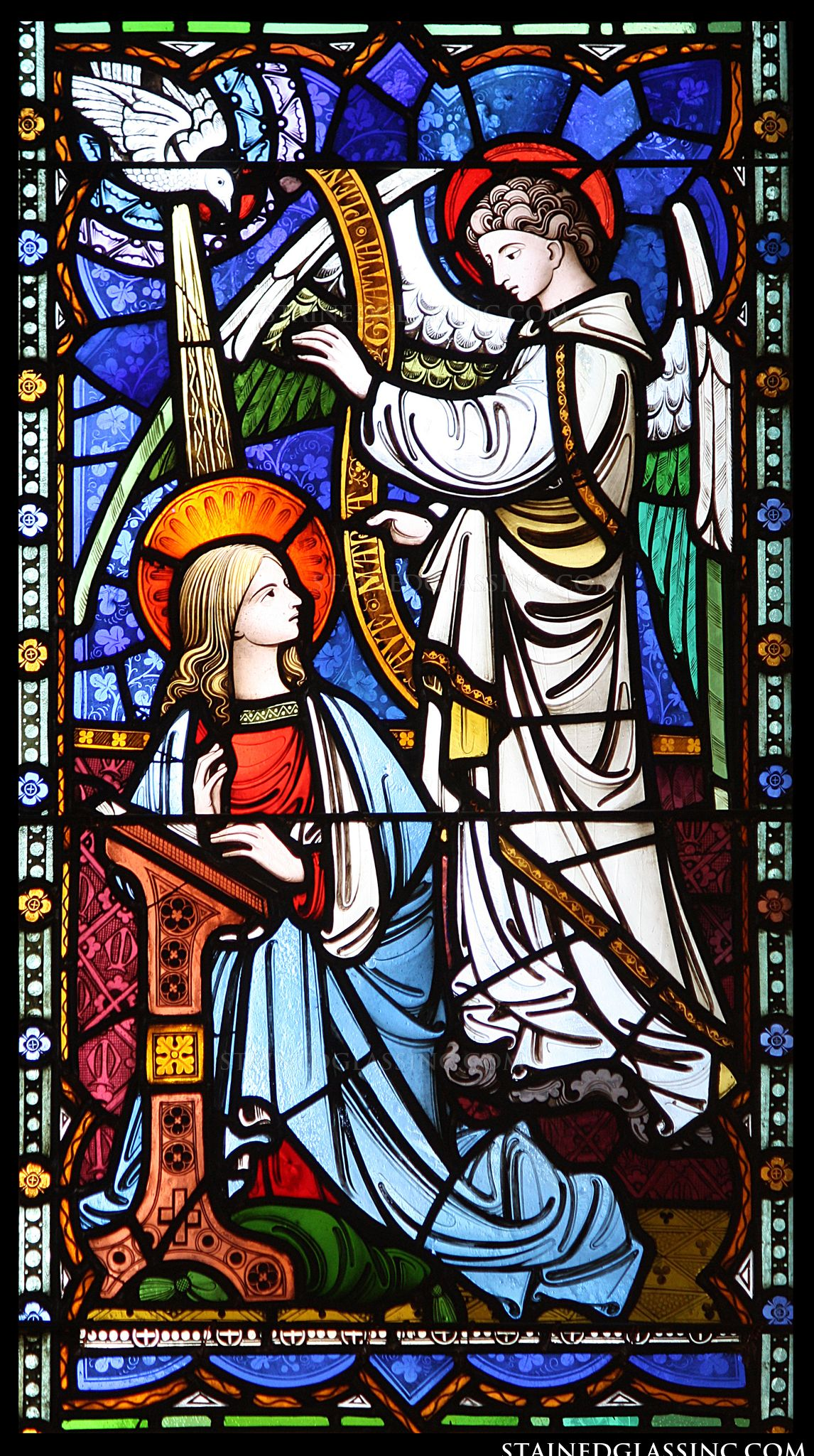 quotthe annunciation panelquot religious stained glass window