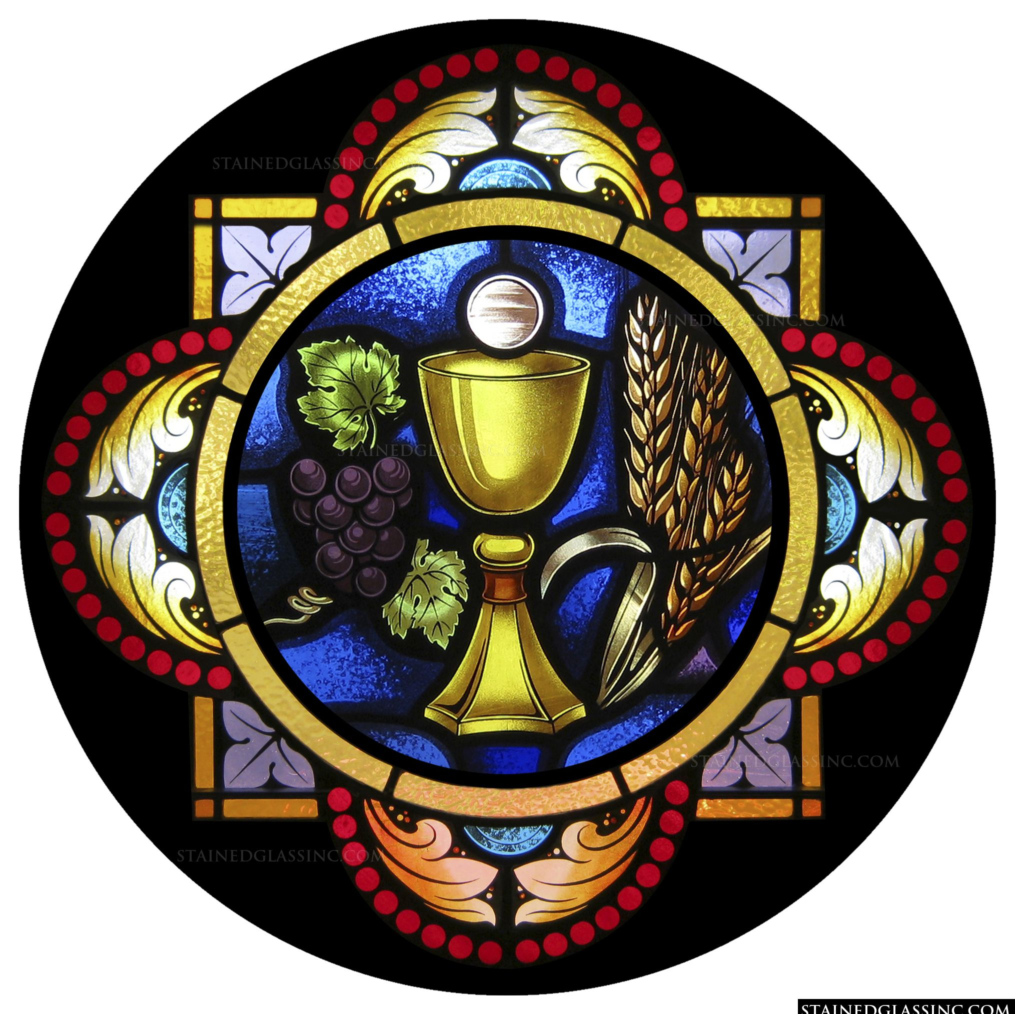 Eucharist Symbol Religious Stained Glass Window