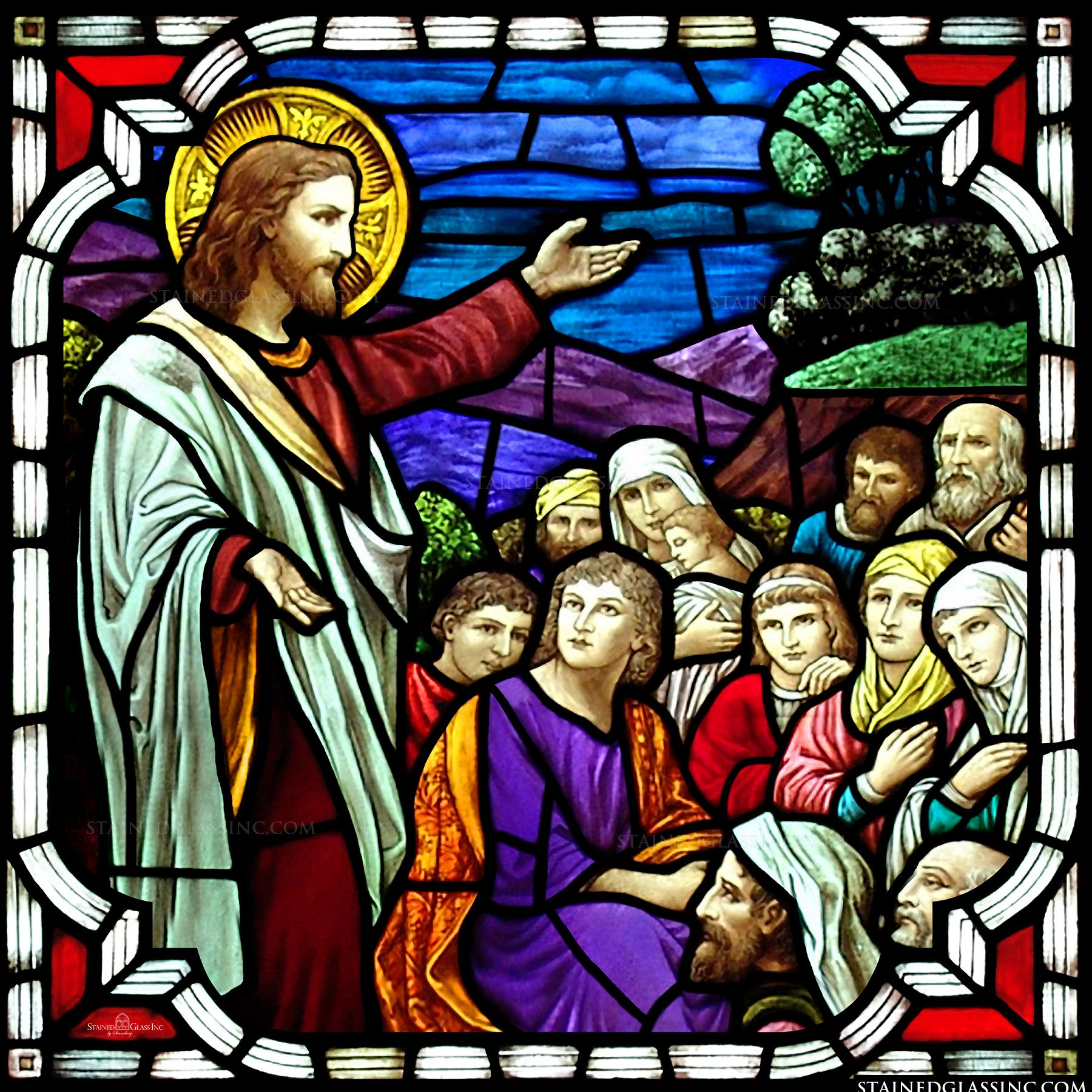 Christian Teaching Religious Stained Glass Window