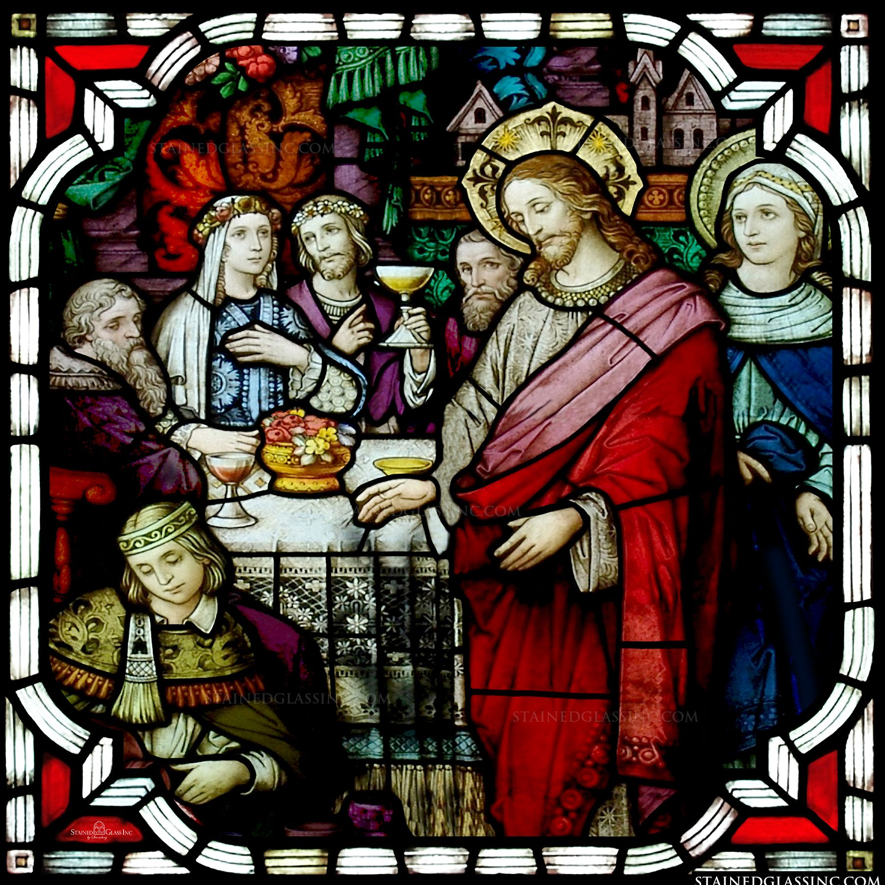 quotthe blessing of the winequot religious stained glass window