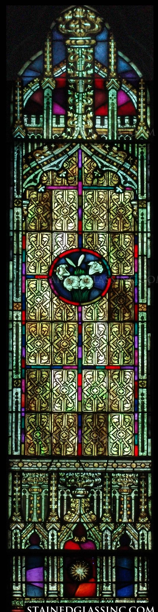 Decorative Lilies Religious Stained Glass Window