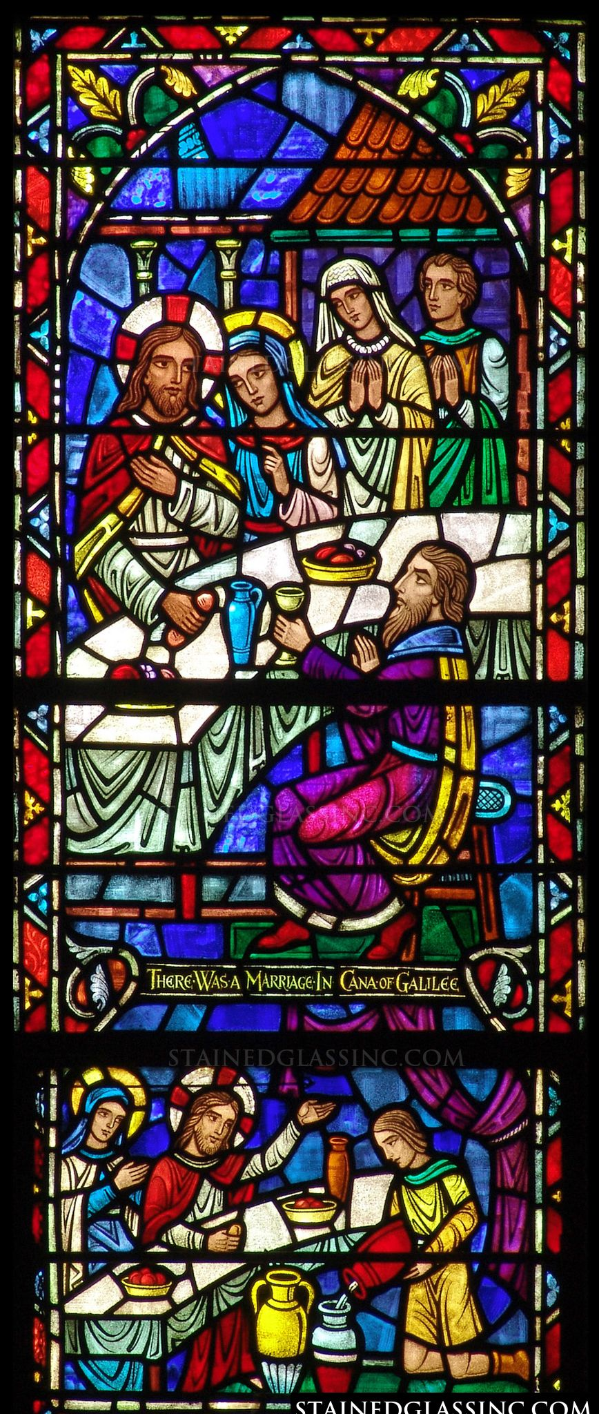 quotmarriage in canaquot religious stained glass window