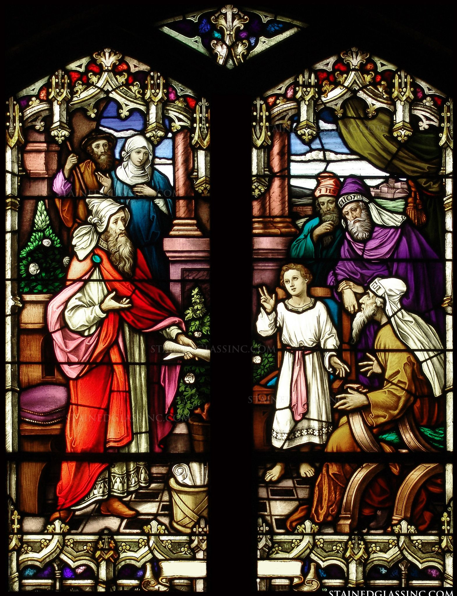 Image result for jesus as a boy in the temple stained glass