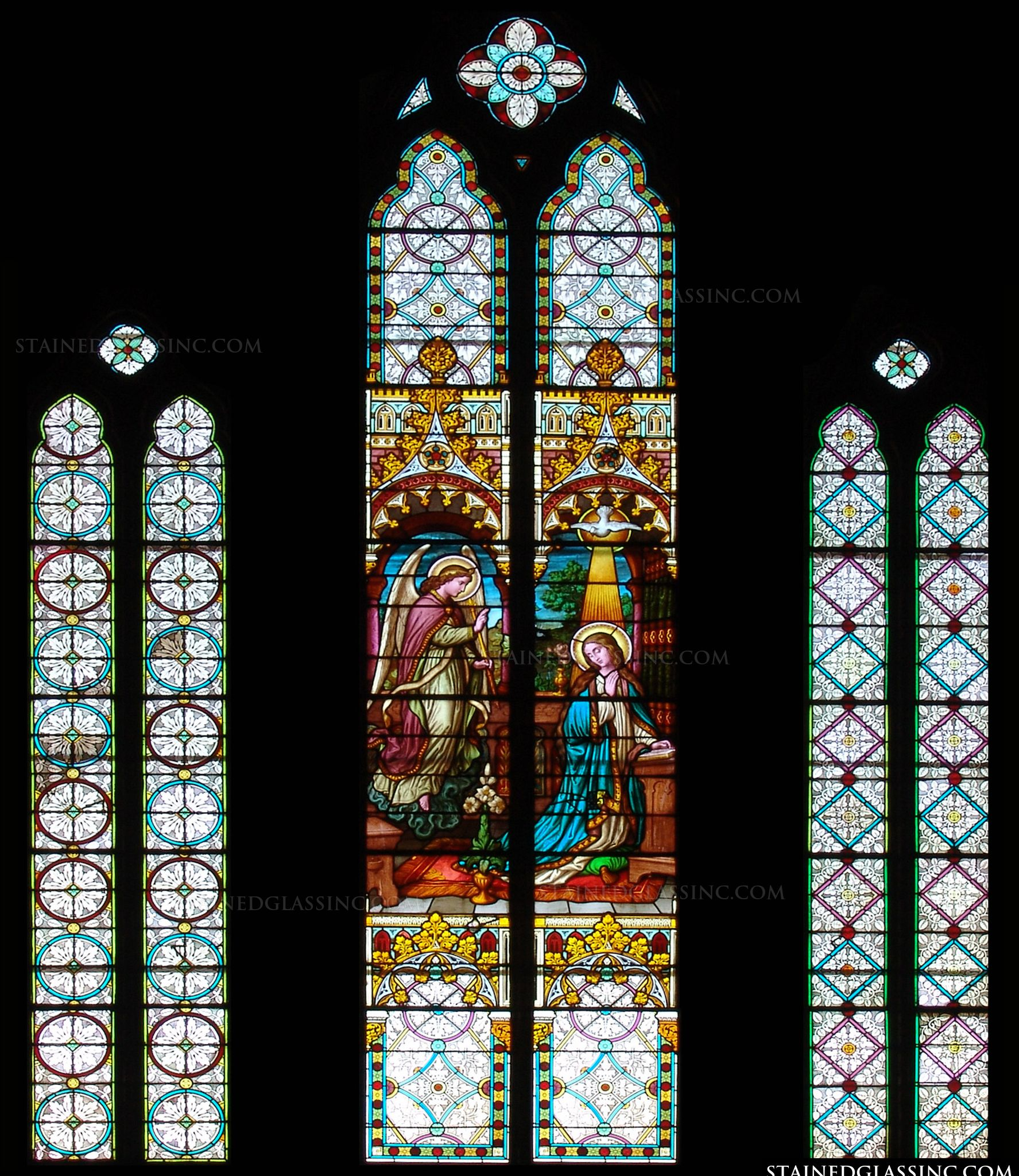 quotthe annunciation of mary panelsquot religious stained glass