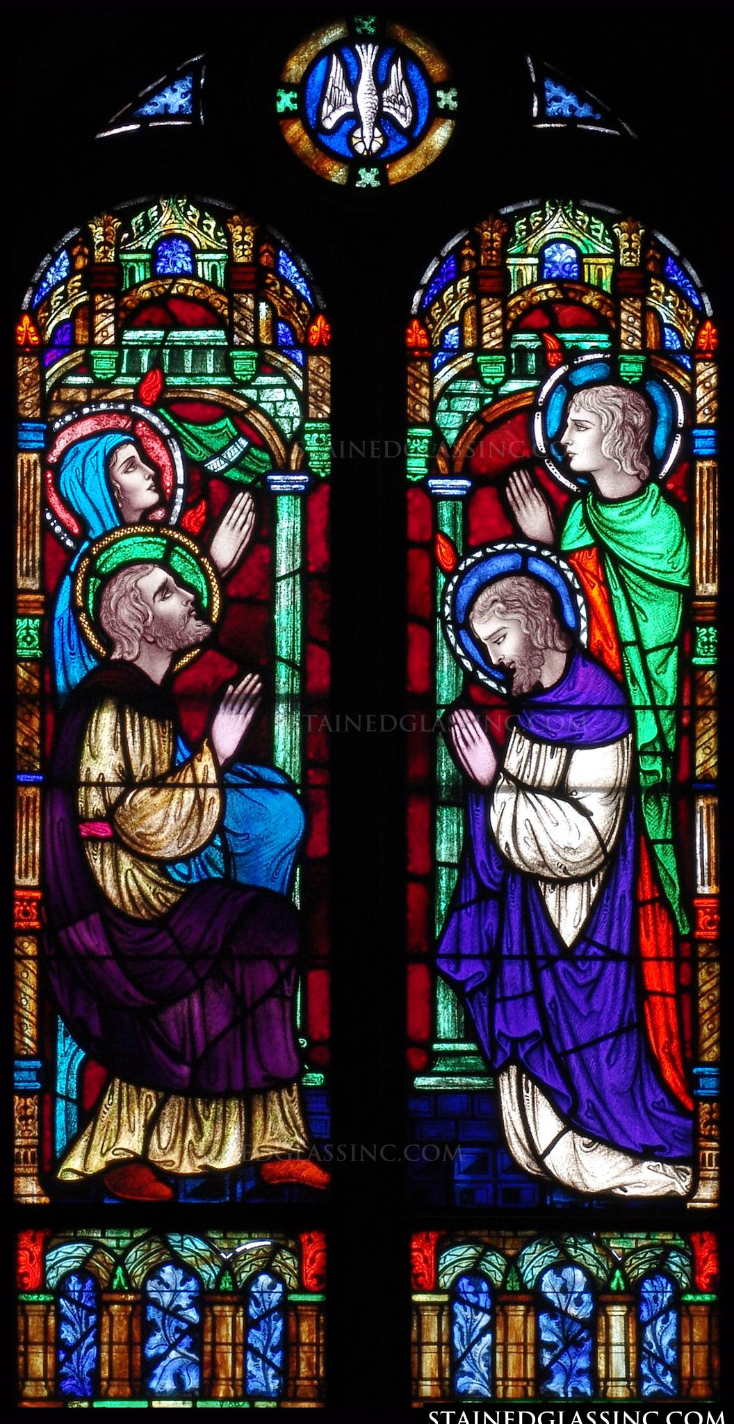 Quot Prayers At Pentecost Quot Religious Stained Glass Window