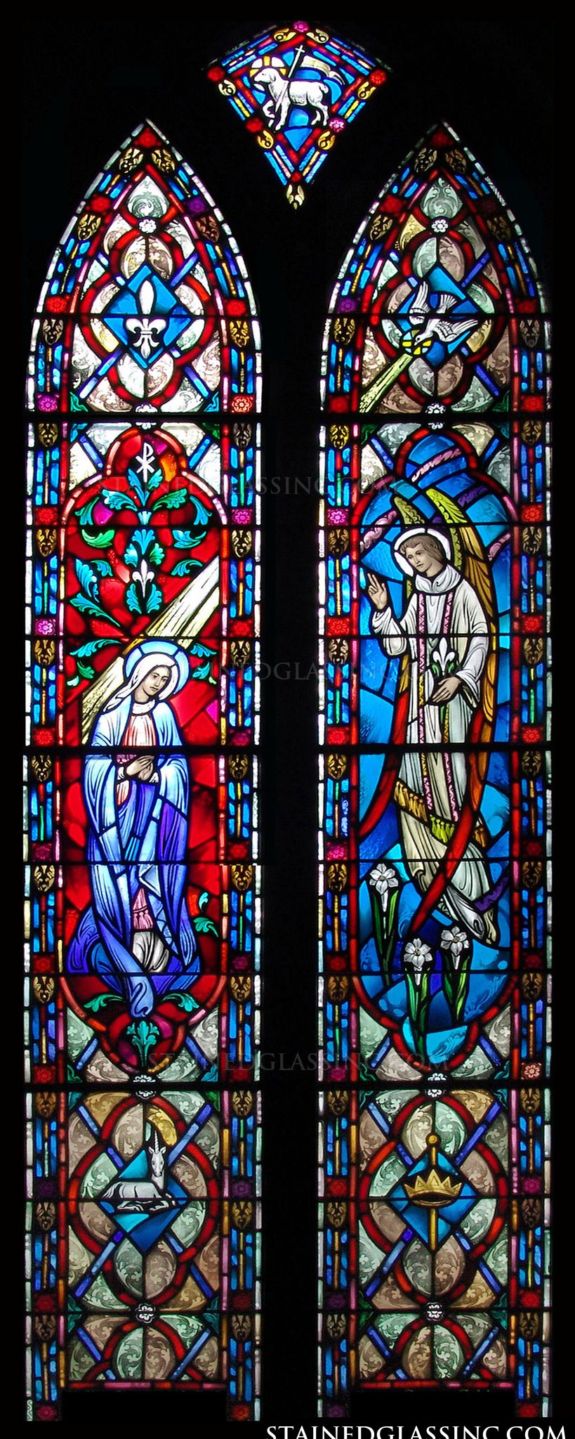 quotmary and gabriel annunciationquot religious stained glass window