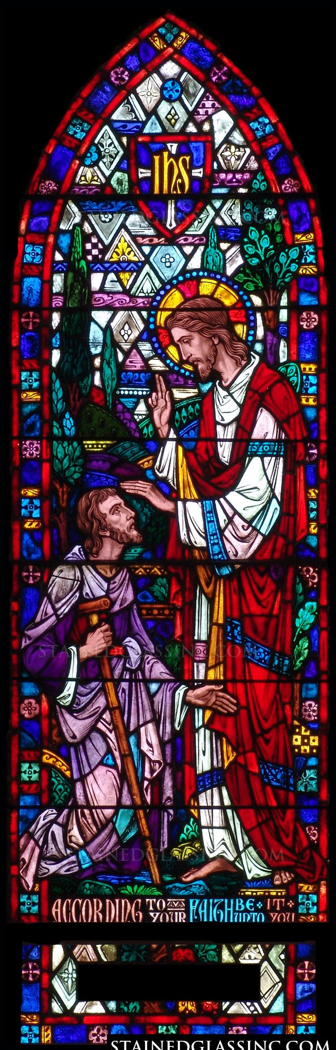 Quot Jesus Healing The Blind Quot Religious Stained Glass Window