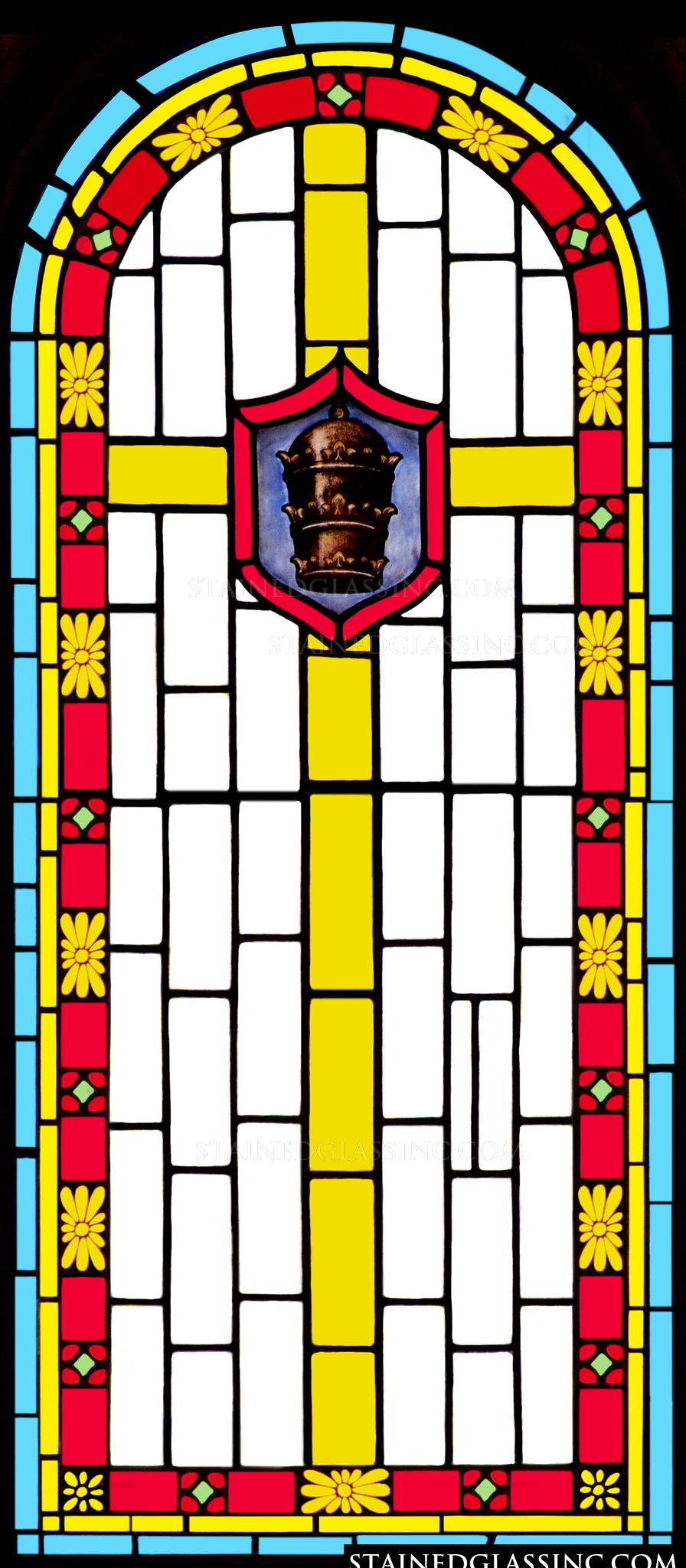 Quot Papal Tiara And Cross Quot Religious Stained Glass Window