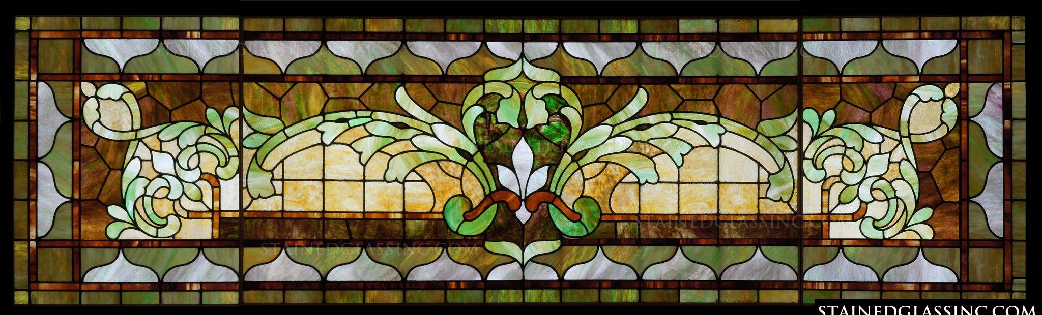 Decorative transom window stained glass window for Decorative stained glass windows