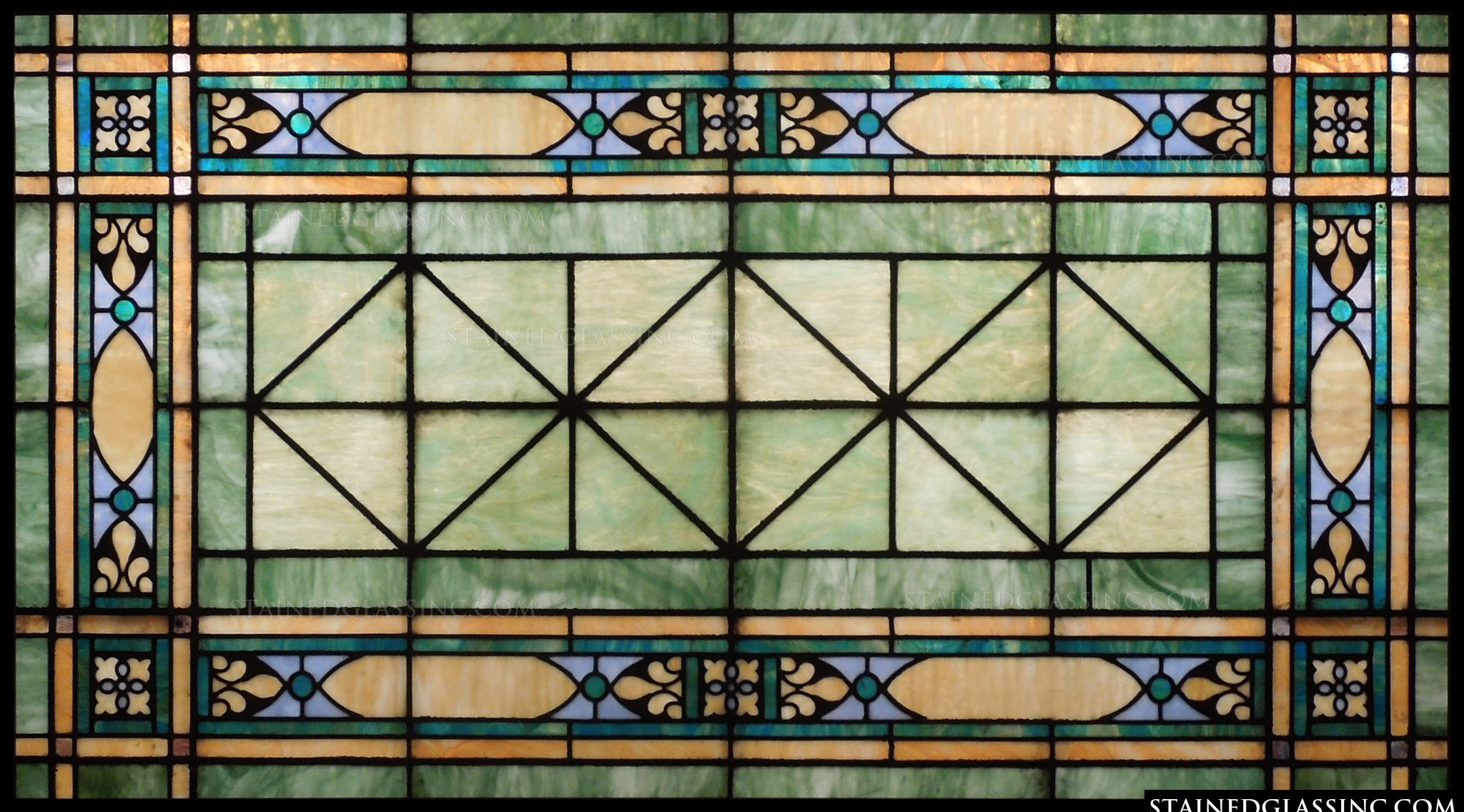 Green and blue transom stained glass window for Transom windows