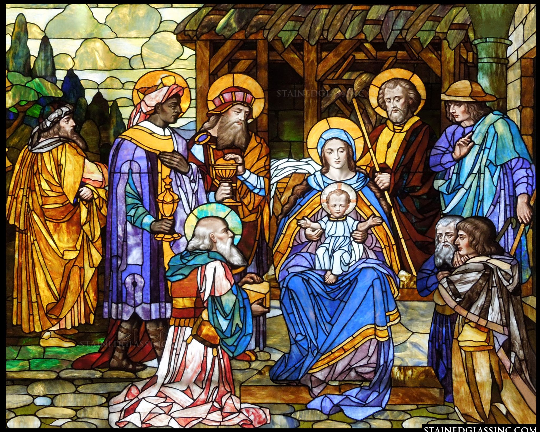 Quot the christmas story religious stained glass window